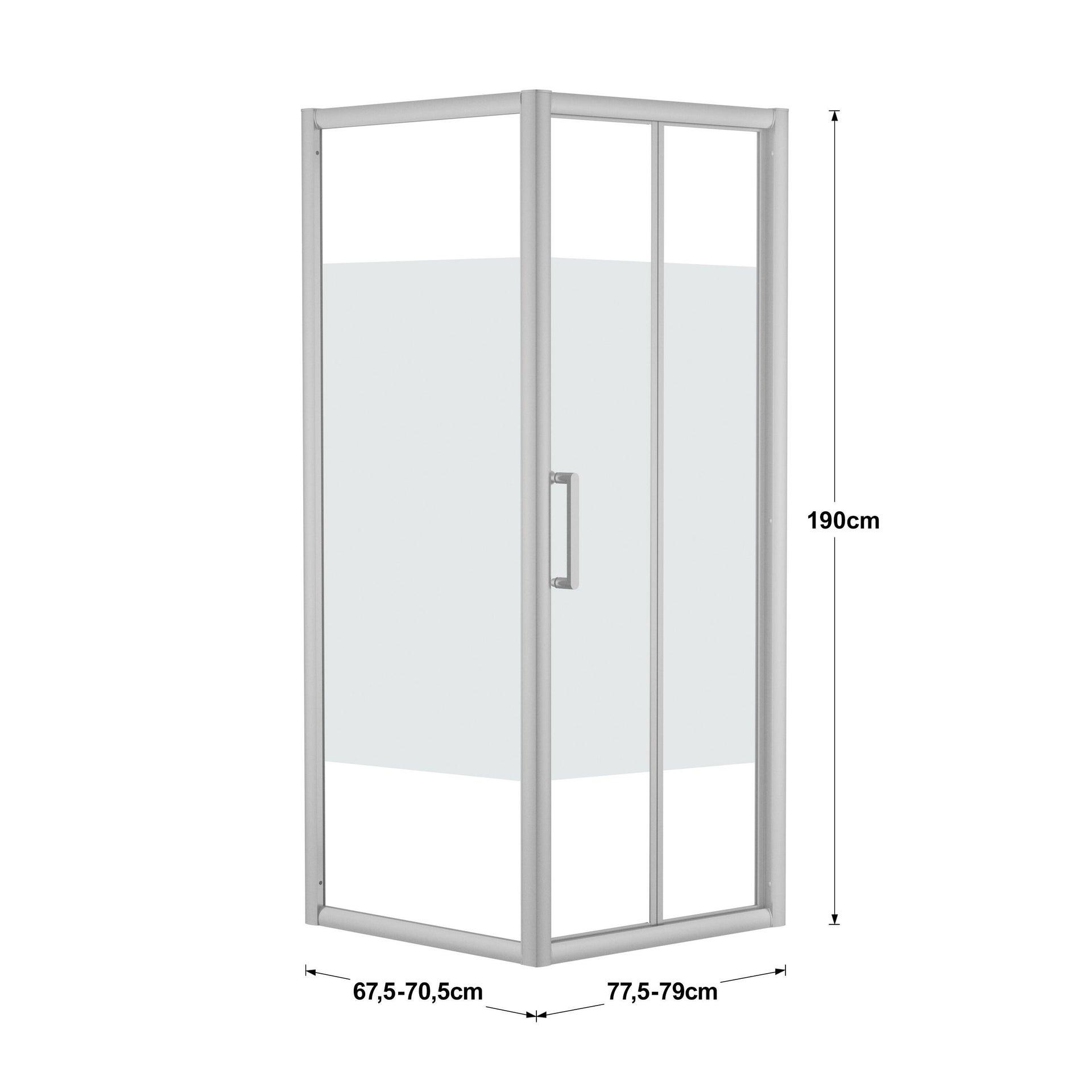 Box doccia rettangolare pieghevole Quad 70 x 80 cm, H 190 cm in vetro temprato, spessore 6 mm serigrafato argento - 3