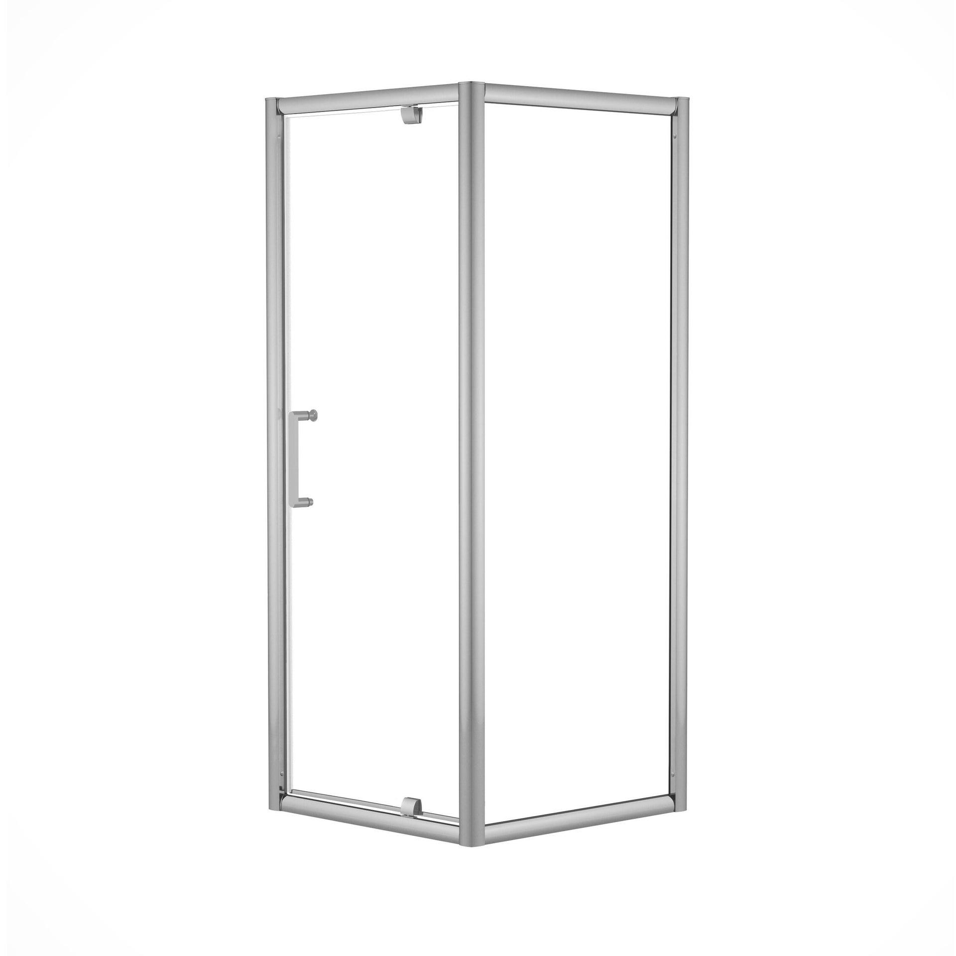 Box doccia rettangolare battente Quad 70 x 80 cm, H 190 cm in vetro temprato, spessore 6 mm trasparente argento - 4