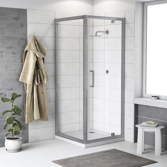 Box doccia rettangolare battente Quad 70 x 80 cm, H 190 cm in vetro temprato, spessore 6 mm trasparente argento - 1