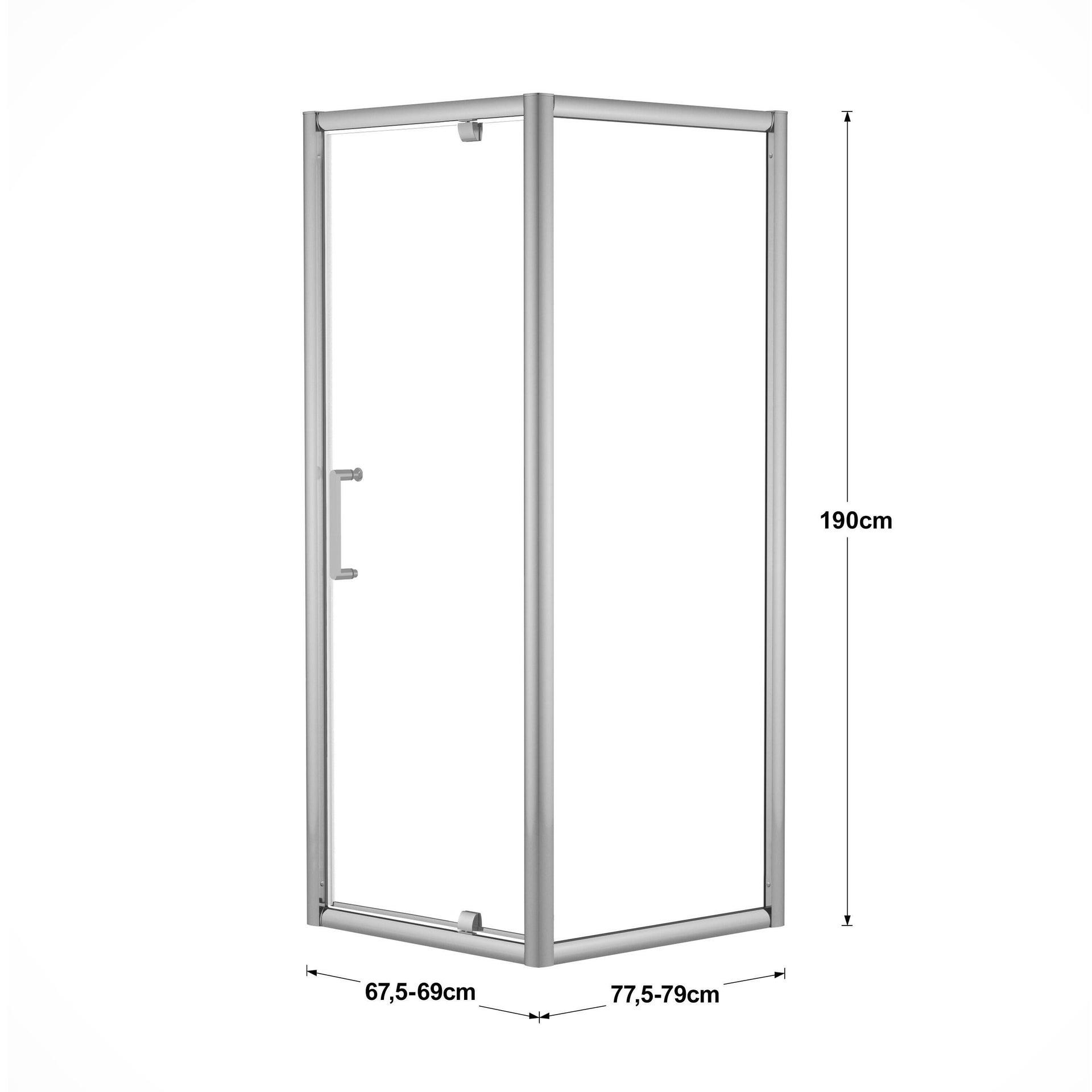 Box doccia rettangolare battente Quad 70 x 80 cm, H 190 cm in vetro temprato, spessore 6 mm trasparente argento - 2