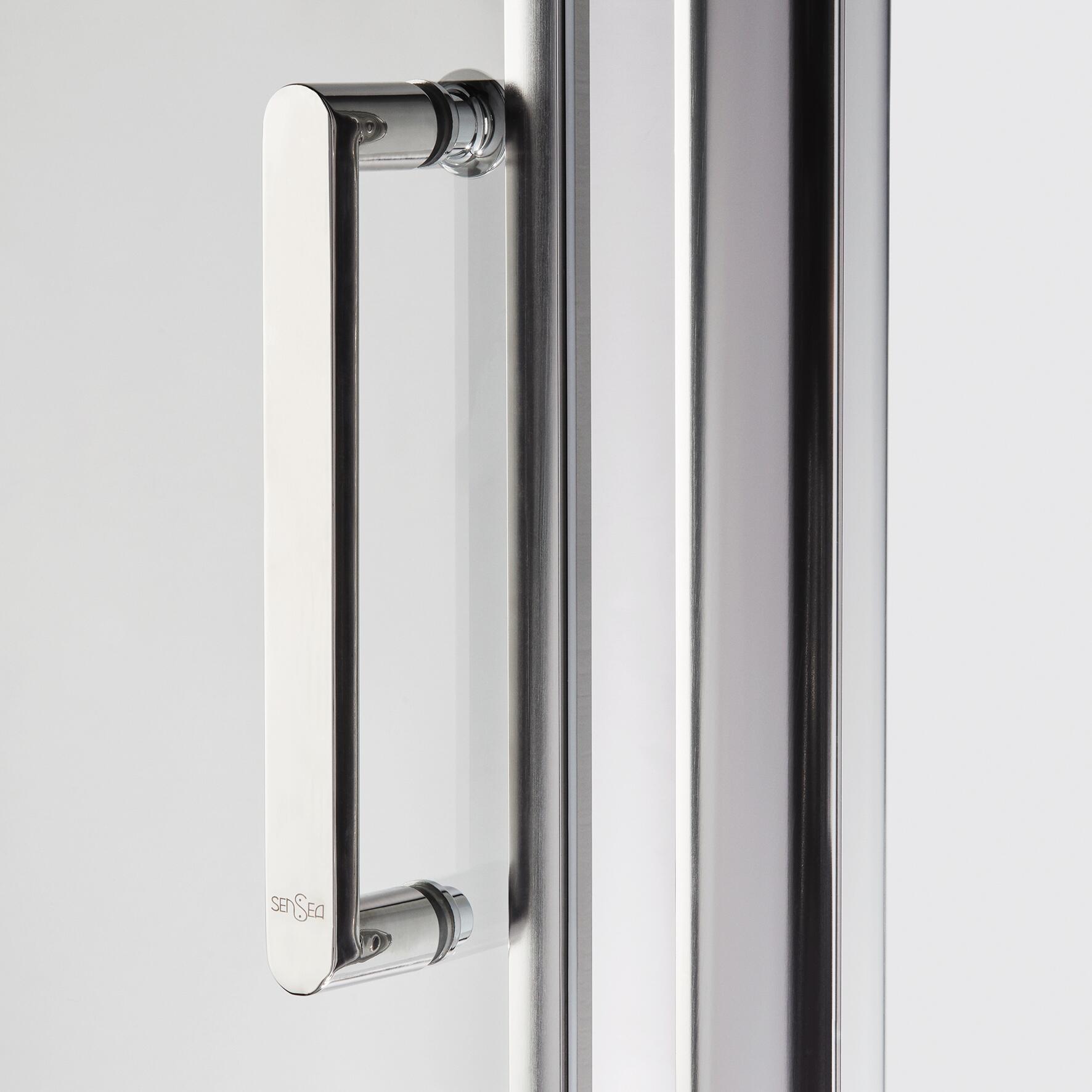 Box doccia rettangolare battente Quad 70 x 80 cm, H 190 cm in vetro temprato, spessore 6 mm trasparente argento - 5