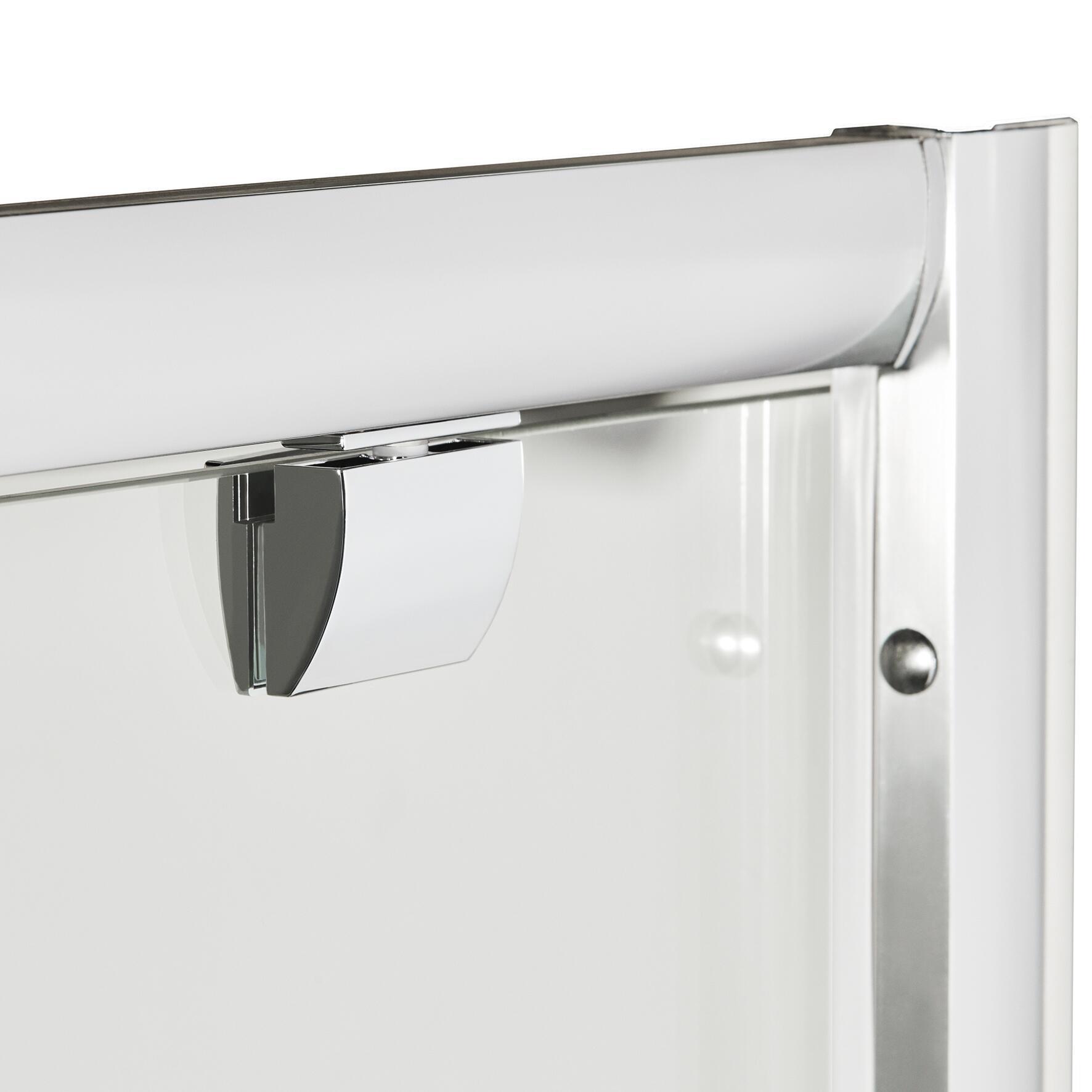 Box doccia rettangolare battente Quad 70 x 80 cm, H 190 cm in vetro temprato, spessore 6 mm trasparente argento - 3