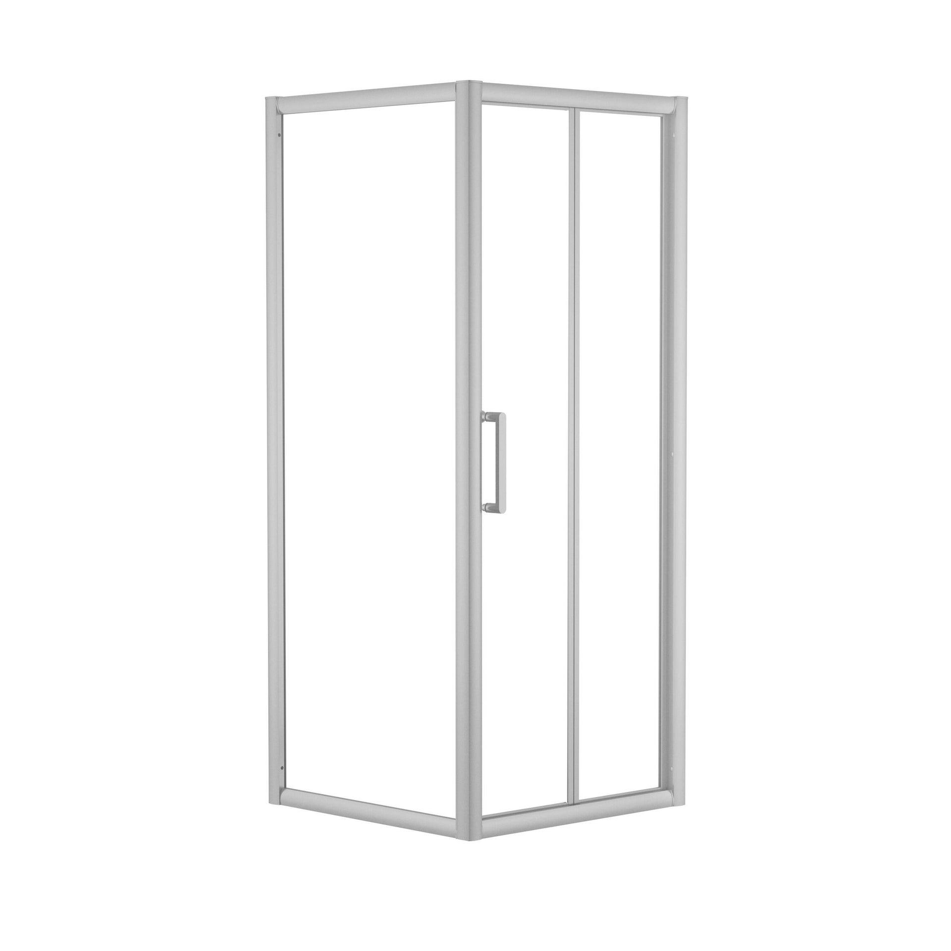 Box doccia rettangolare pieghevole Quad 70 x 80 cm, H 190 cm in vetro temprato, spessore 6 mm trasparente argento - 4