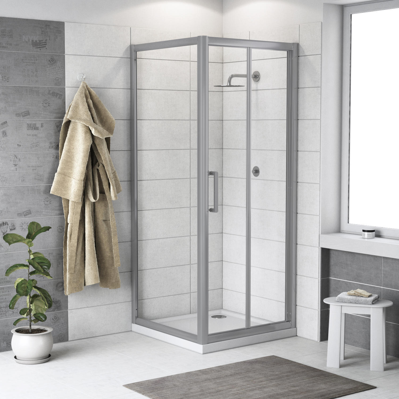 Box doccia rettangolare pieghevole Quad 70 x 80 cm, H 190 cm in vetro temprato, spessore 6 mm trasparente argento - 1