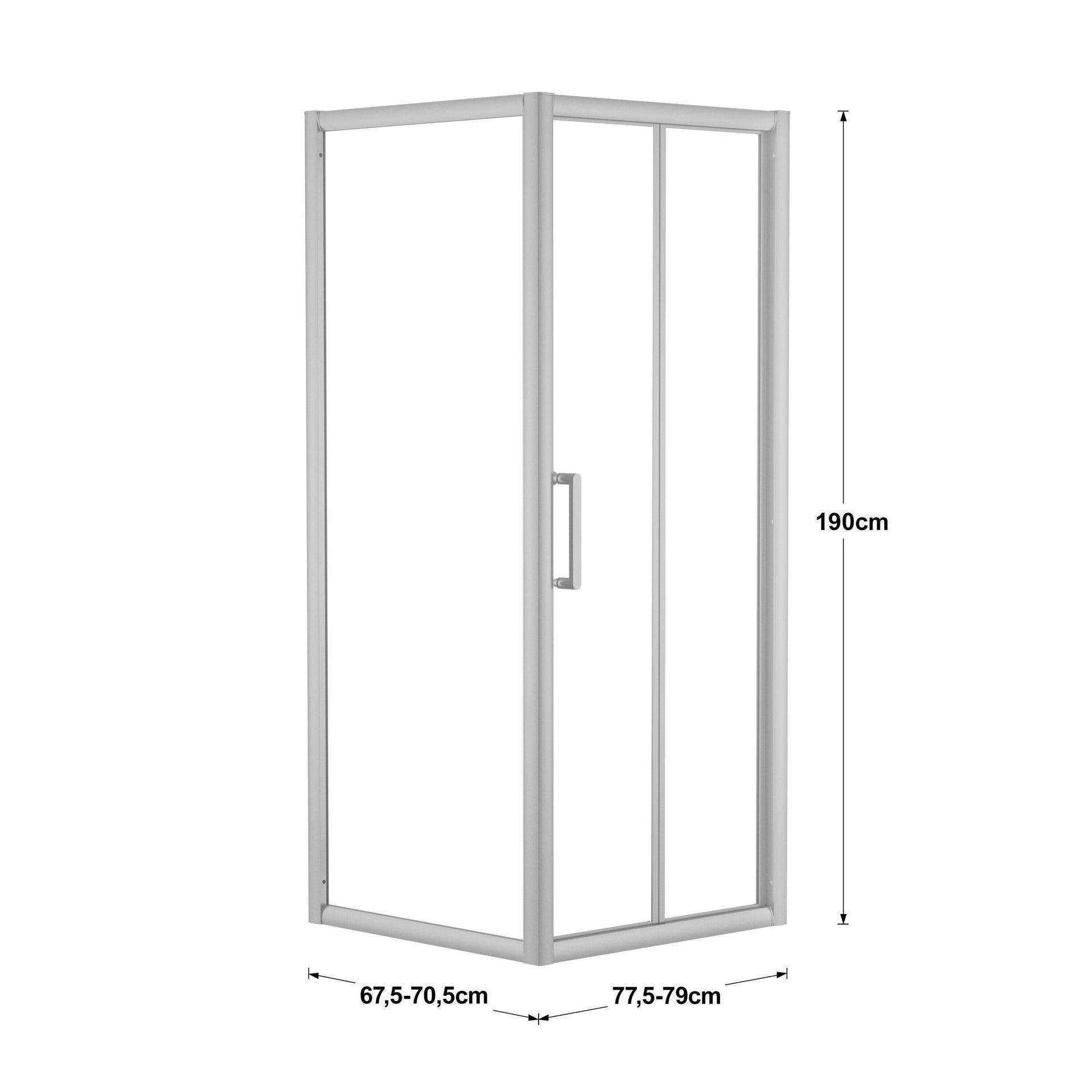 Box doccia rettangolare pieghevole Quad 70 x 80 cm, H 190 cm in vetro temprato, spessore 6 mm trasparente argento - 2