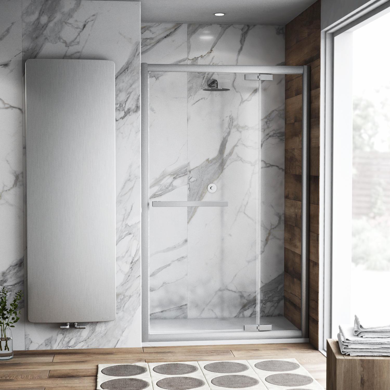 Porta doccia battente Namara 160 cm, H 195 cm in vetro temprato, spessore 8 mm trasparente silver - 1