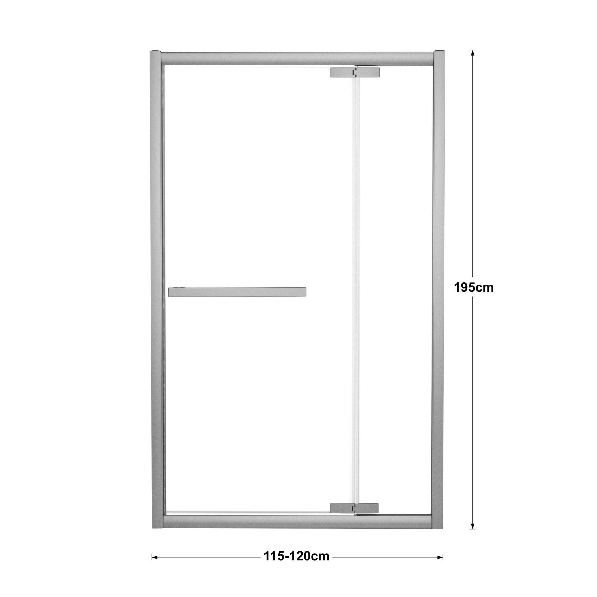 Porta doccia battente Namara 120 cm, H 195 cm in vetro temprato, spessore 8 mm trasparente silver - 3