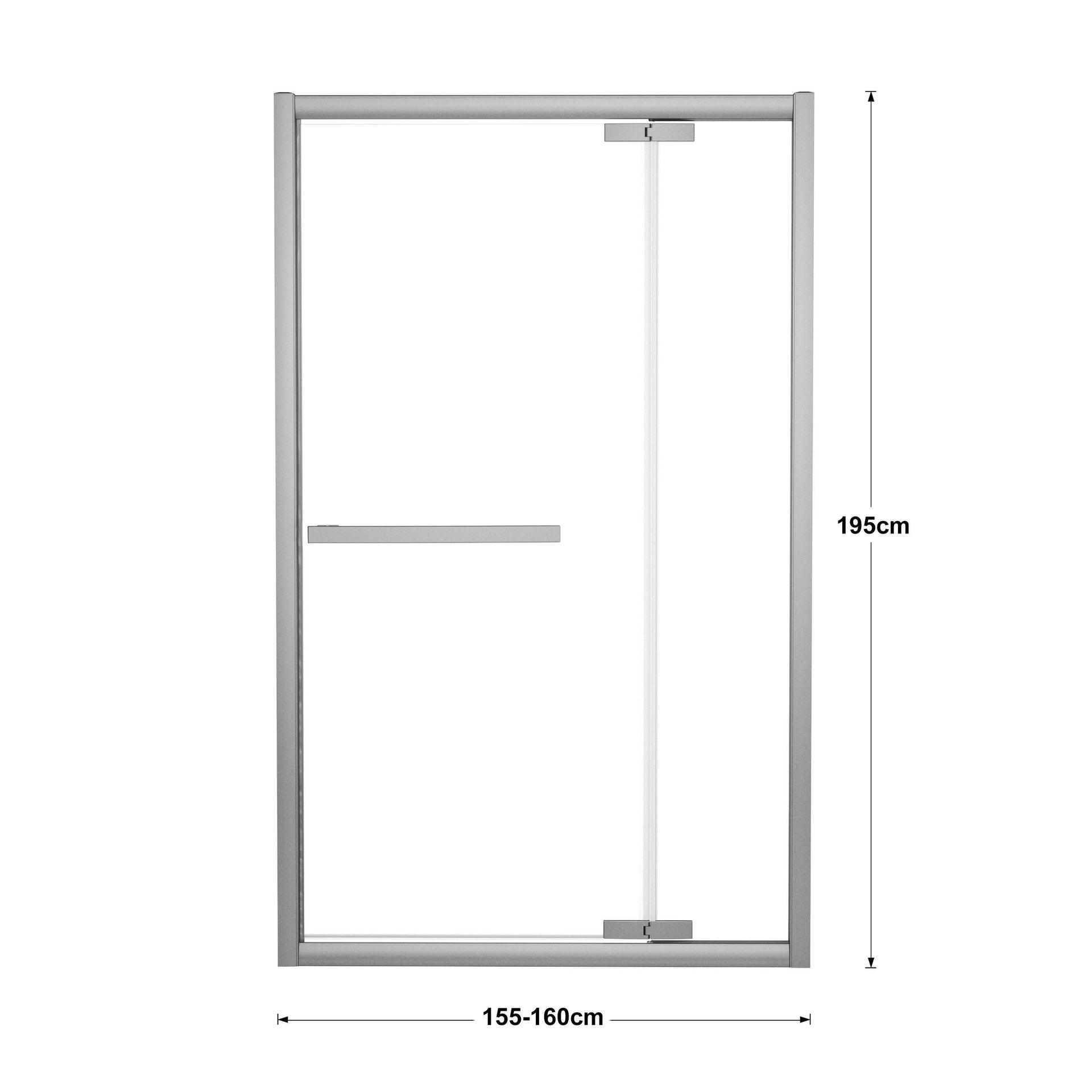 Porta doccia battente Namara 160 cm, H 195 cm in vetro temprato, spessore 8 mm trasparente silver - 2