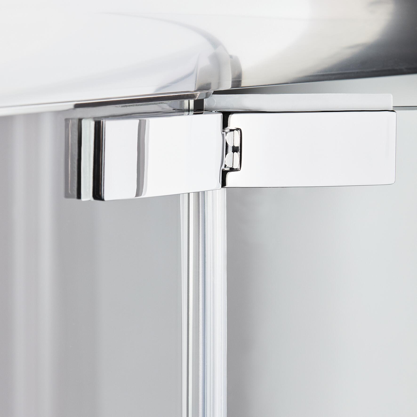Porta doccia battente Namara 160 cm, H 195 cm in vetro temprato, spessore 8 mm trasparente silver - 4