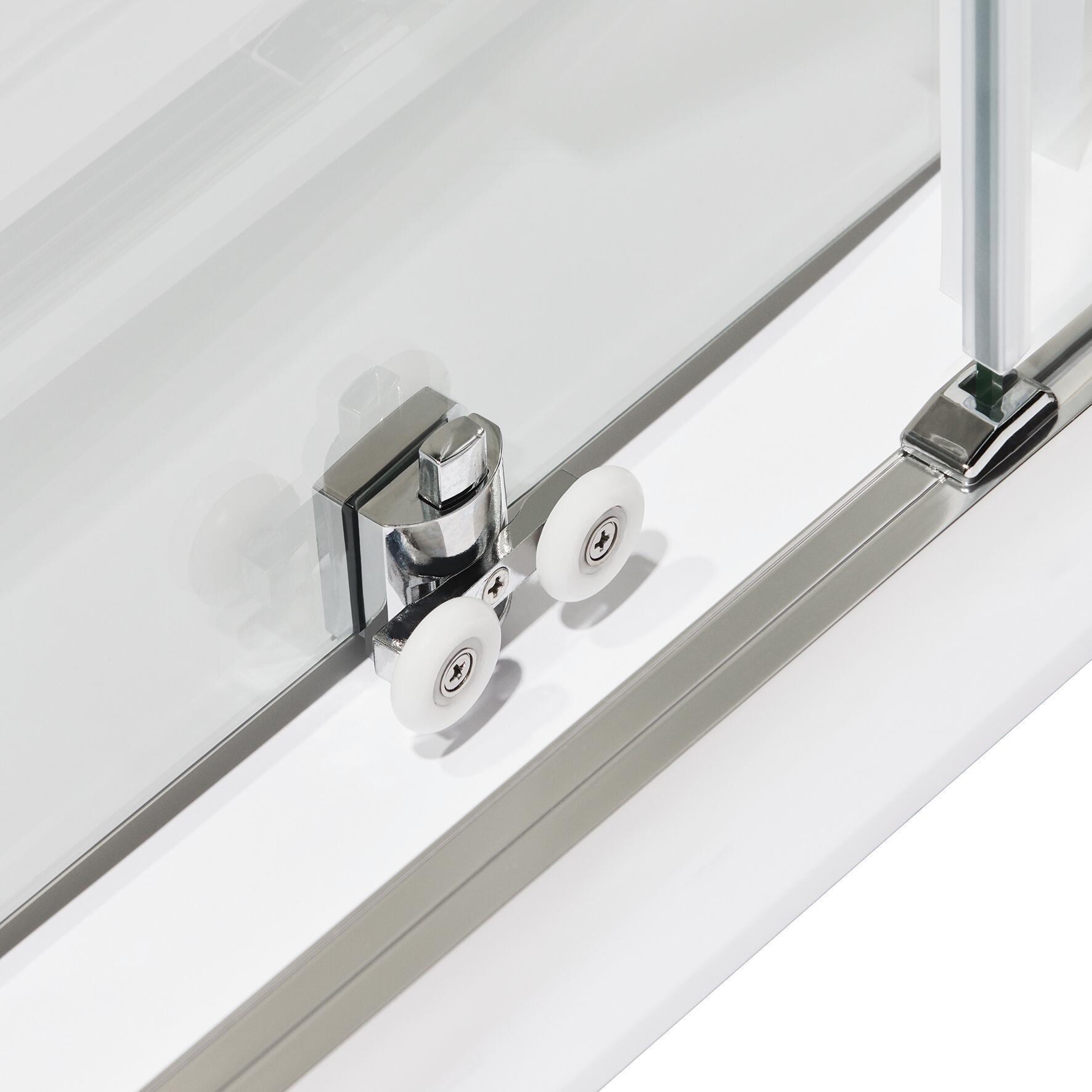Porta doccia scorrevole Quad 100 cm, H 190 cm in vetro, spessore 6 mm trasparente satinato - 2