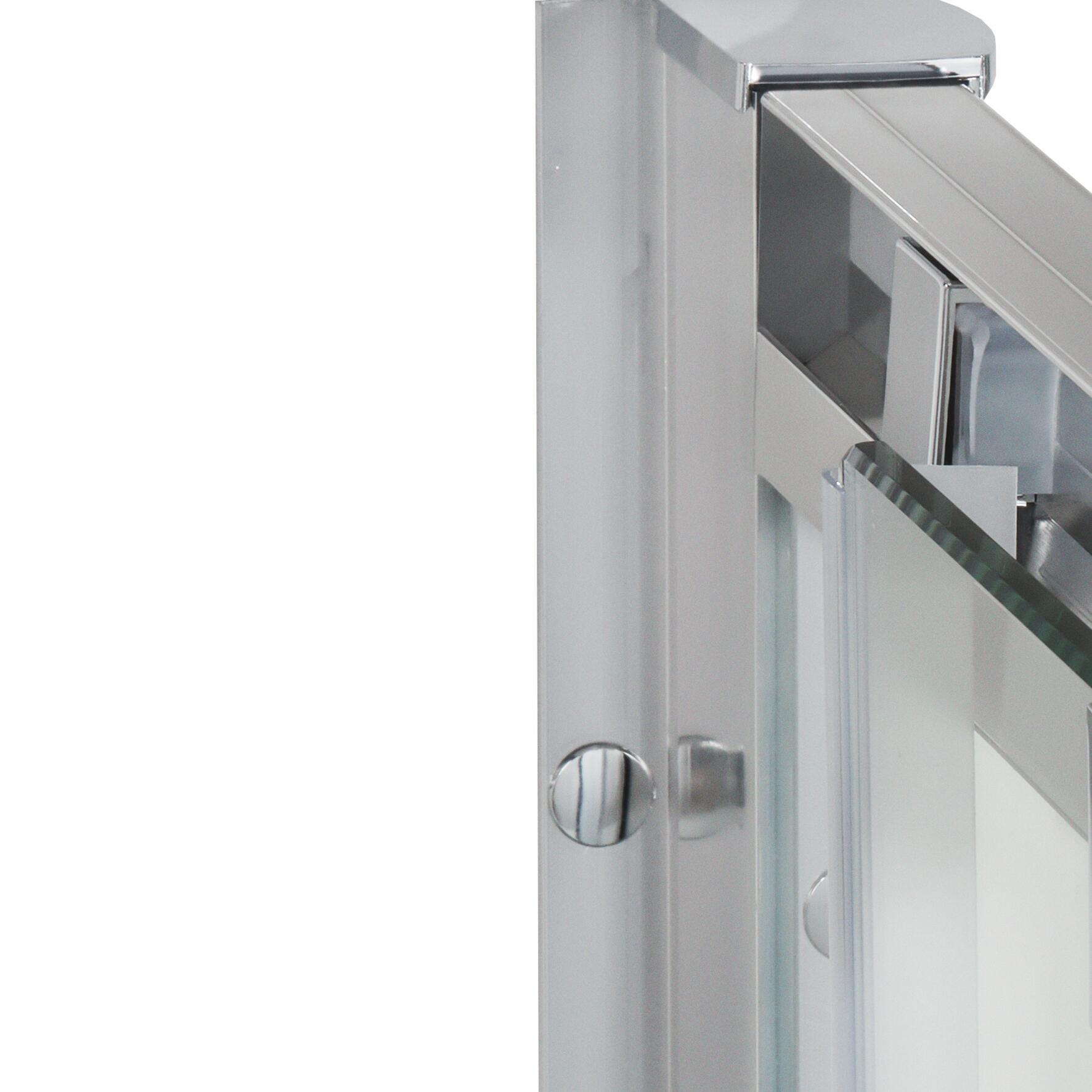 Porta doccia scorrevole Quad 100 cm, H 190 cm in vetro, spessore 6 mm trasparente satinato - 4