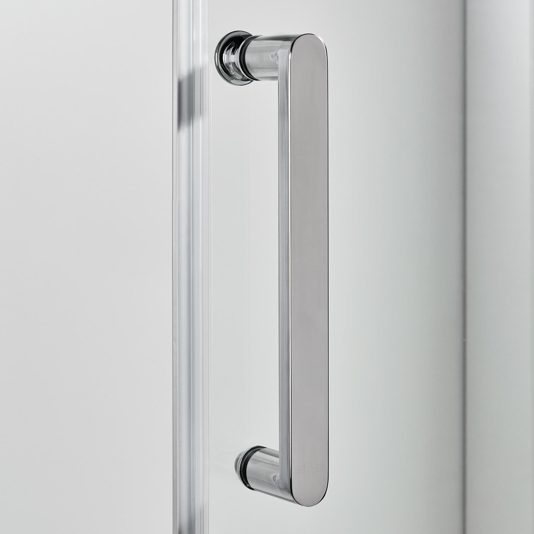 Box doccia quadrato scorrevole Quad 80 x 100 cm, H 190 cm in vetro temprato, spessore 6 mm trasparente argento - 5