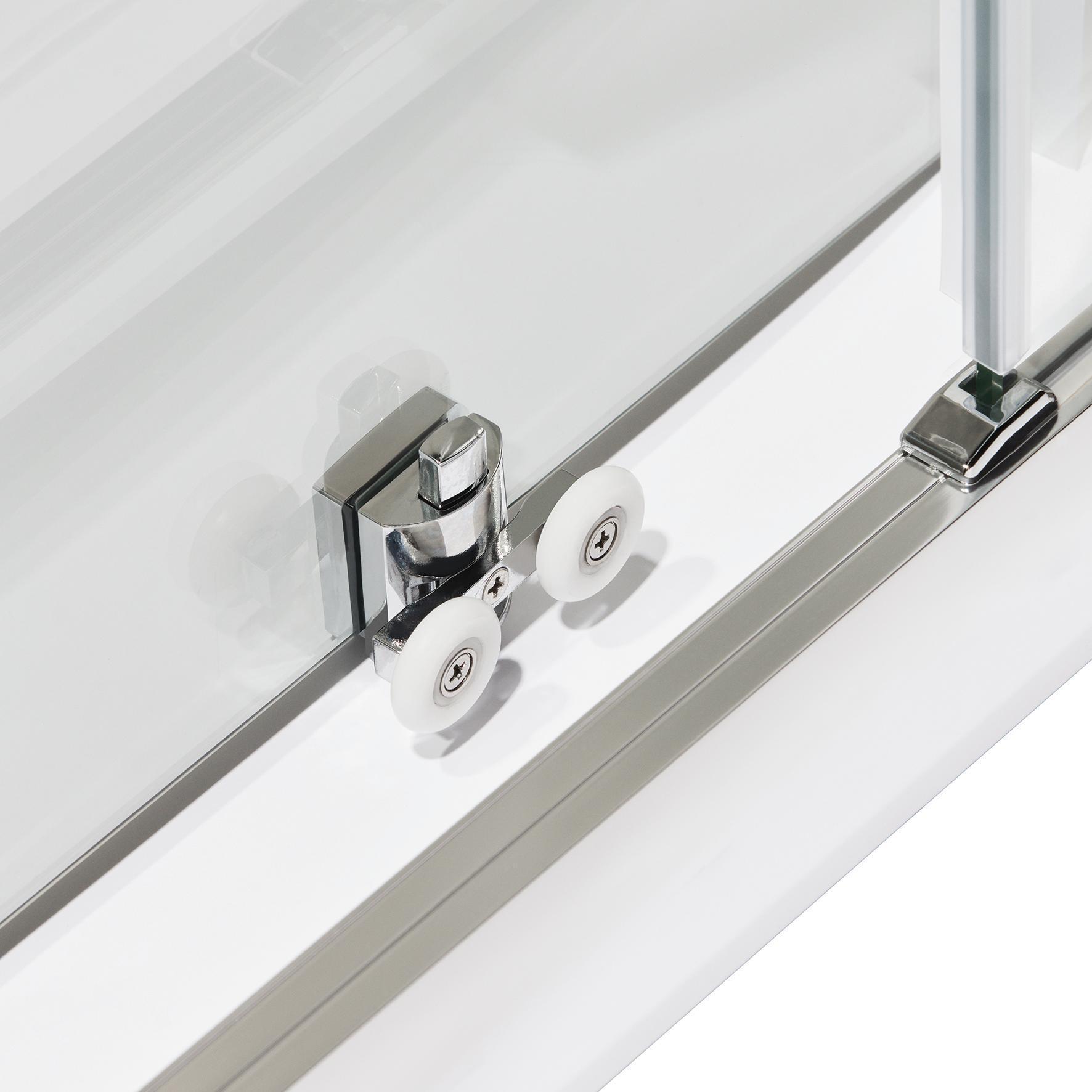 Box doccia quadrato scorrevole Quad 80 x 100 cm, H 190 cm in vetro temprato, spessore 6 mm trasparente argento - 4