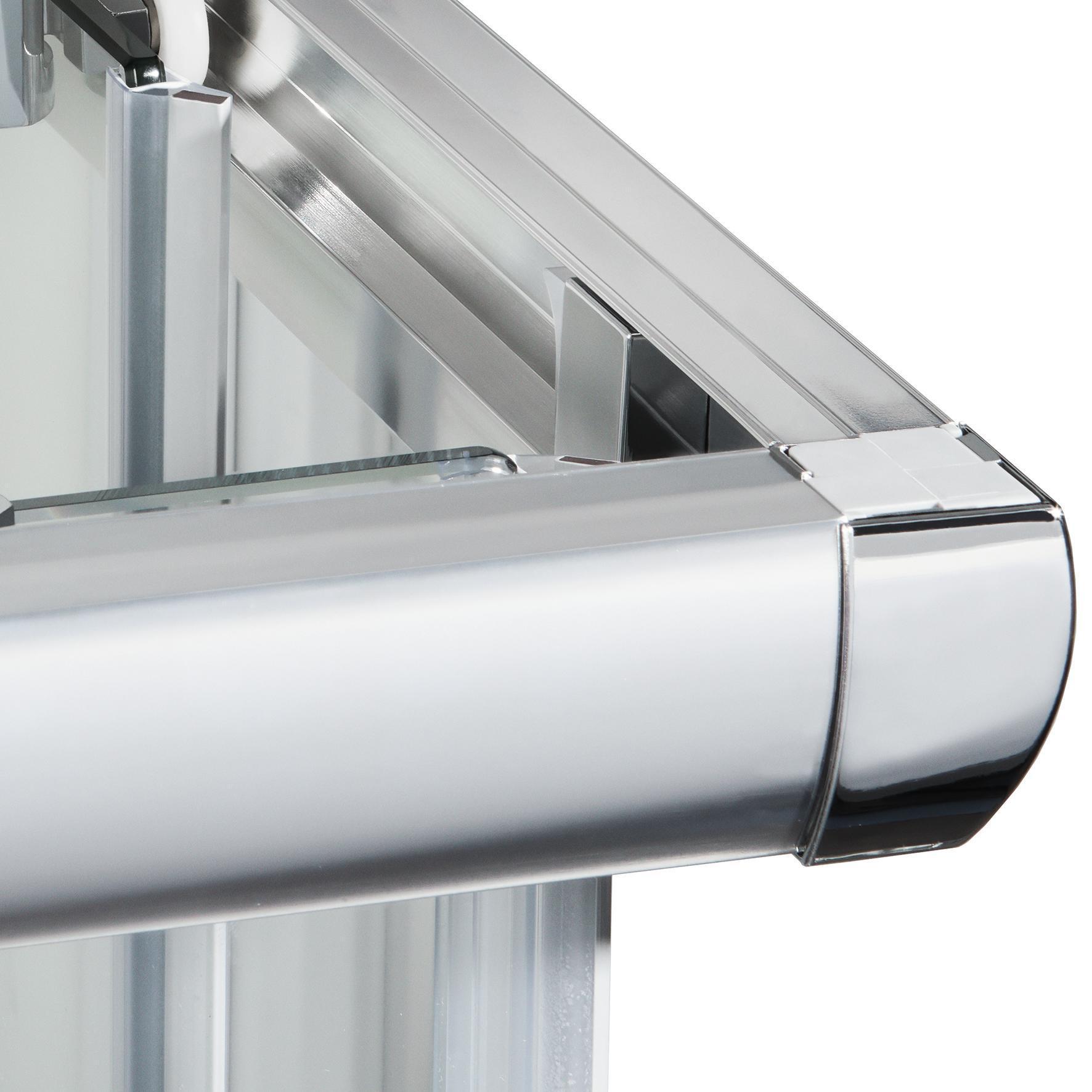 Box doccia quadrato scorrevole Quad 80 x 100 cm, H 190 cm in vetro temprato, spessore 6 mm trasparente argento - 2