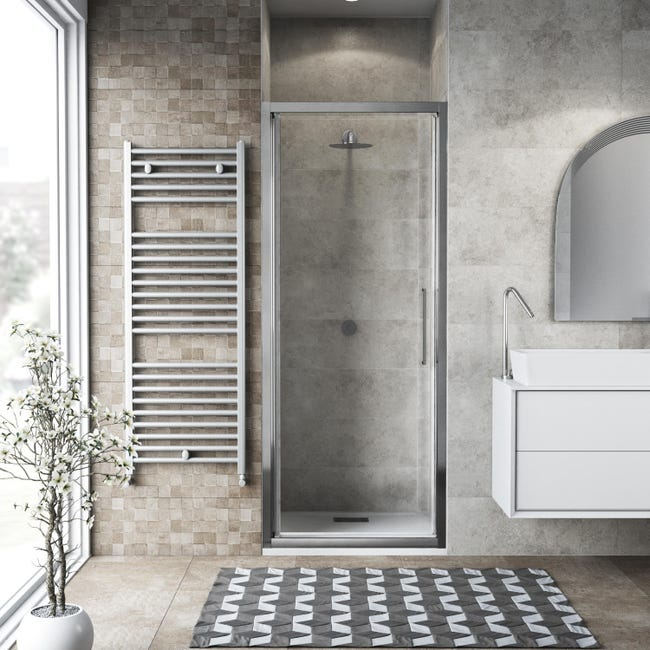 Porta doccia battente Record 82 cm, H 195 cm in vetro temprato, spessore 6 mm trasparente silver - 1