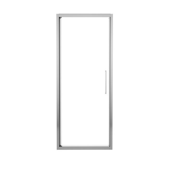 Porta doccia battente Record 77 cm, H 195 cm in vetro temprato, spessore 6 mm trasparente silver - 1