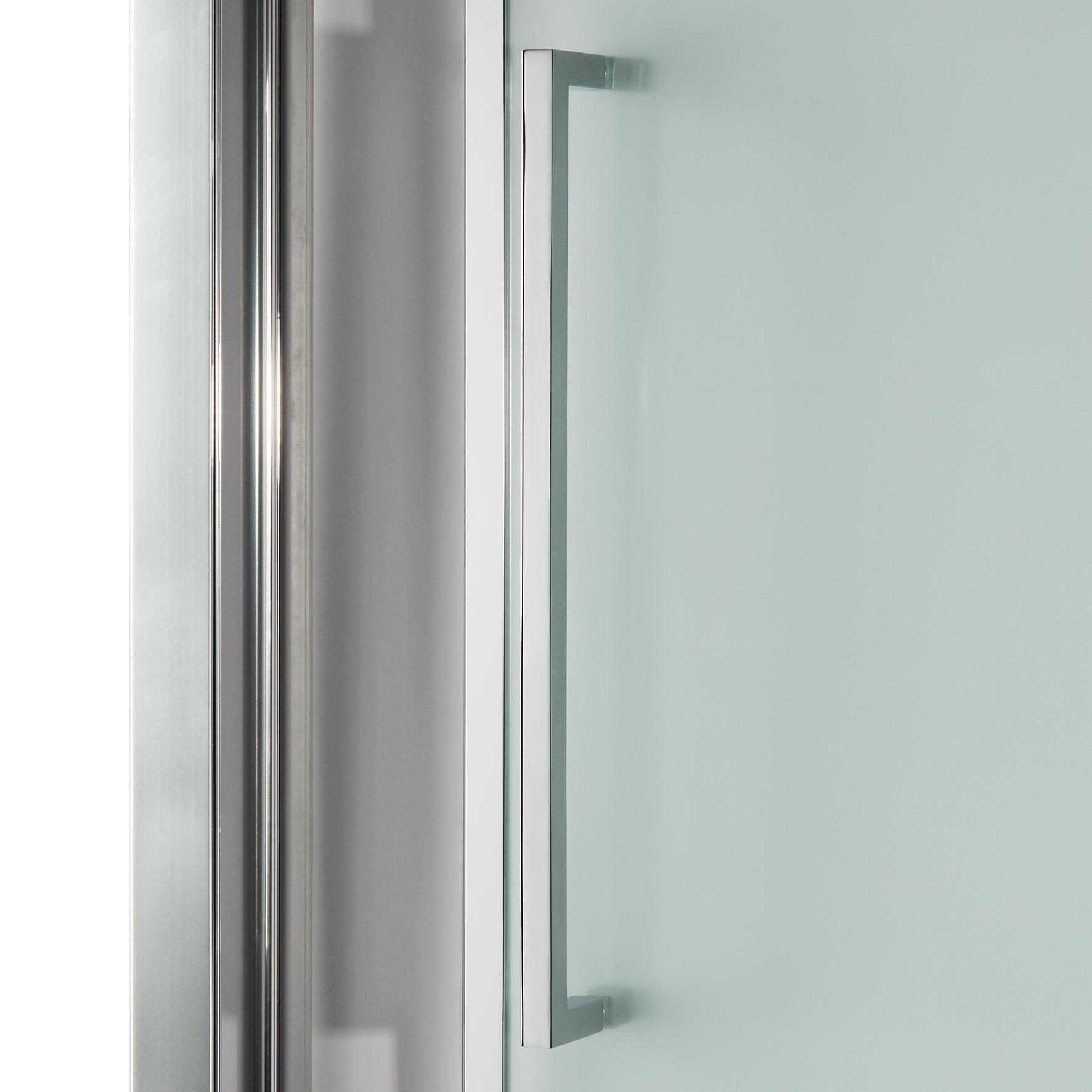 Porta doccia battente Record 67 cm, H 195 cm in vetro temprato, spessore 6 mm trasparente silver - 4