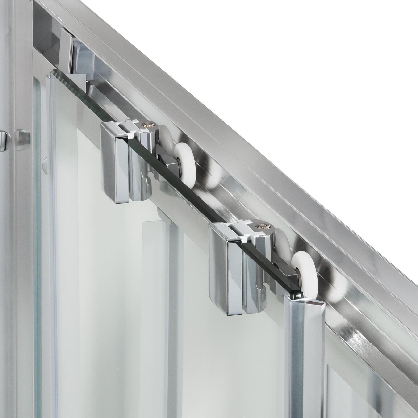 Box doccia rettangolare scorrevole Quad 80 x 100 cm, H 190 cm in vetro temprato, spessore 6 mm serigrafato argento - 6