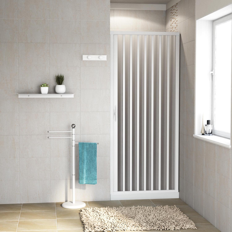 Porta doccia pieghevole Playa 90 cm, H 185 cm in pvc, spessore 2 mm acrilico piumato silver - 1