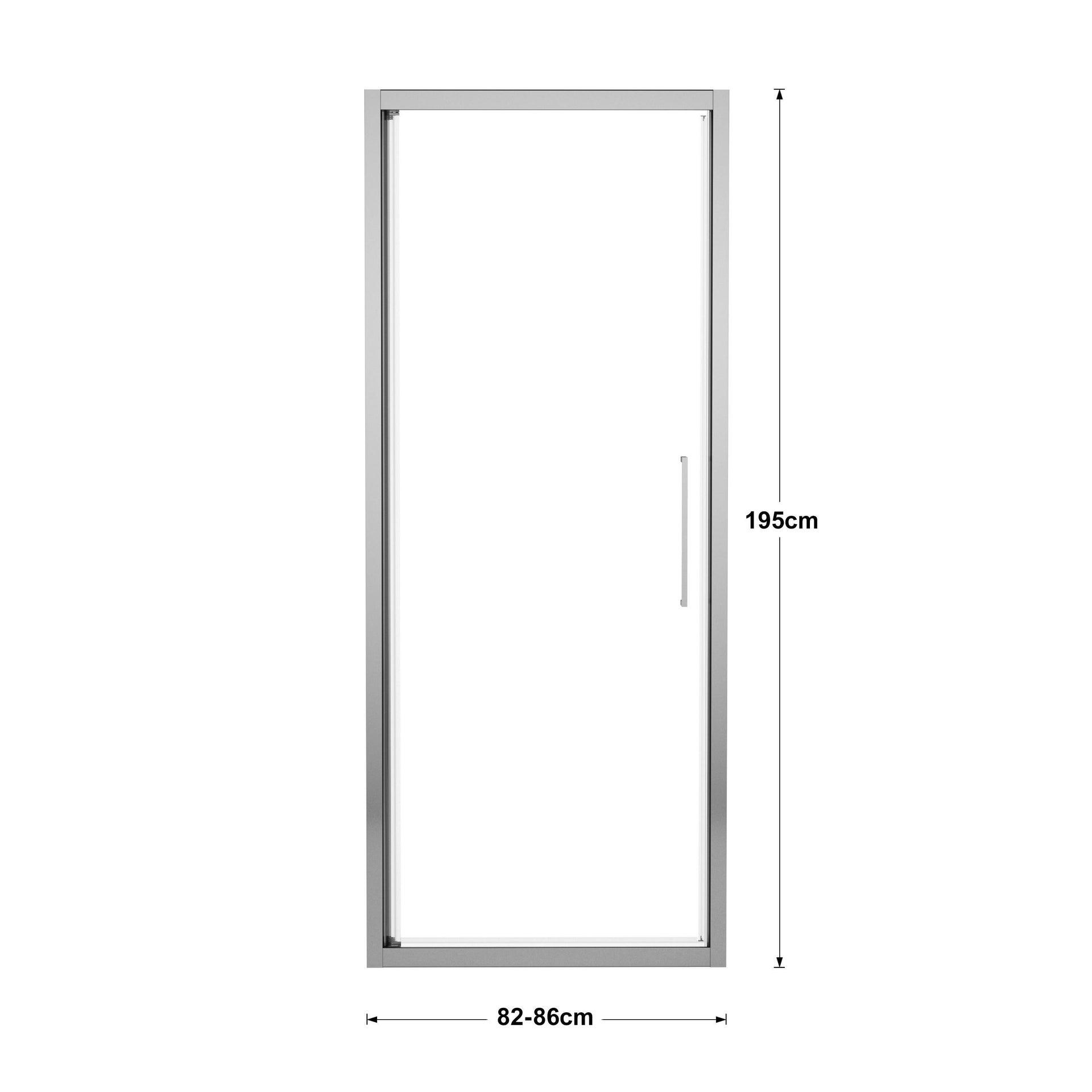 Porta doccia battente Record 82 cm, H 195 cm in vetro temprato, spessore 6 mm trasparente silver - 4