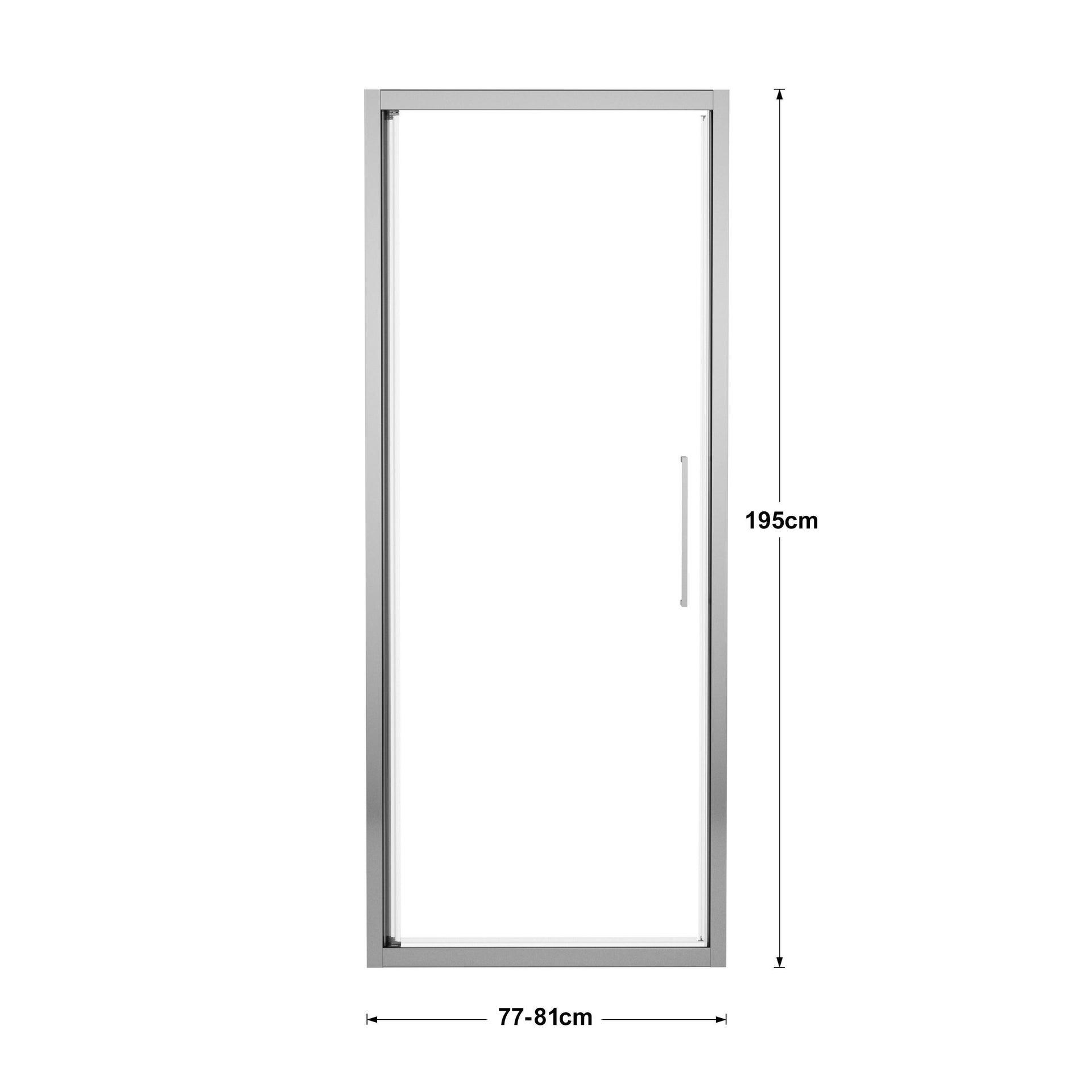 Porta doccia battente Record 77 cm, H 195 cm in vetro temprato, spessore 6 mm trasparente silver - 4