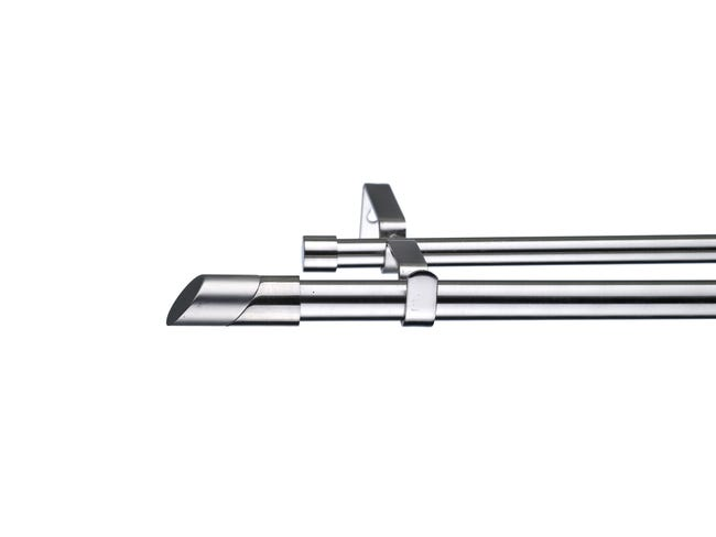 Kit bastone per tenda estensibile Doppio in metallo Ø 16/19 mm grigio e argento spazzolato da 120 a 210 cm INSPIRE - 1