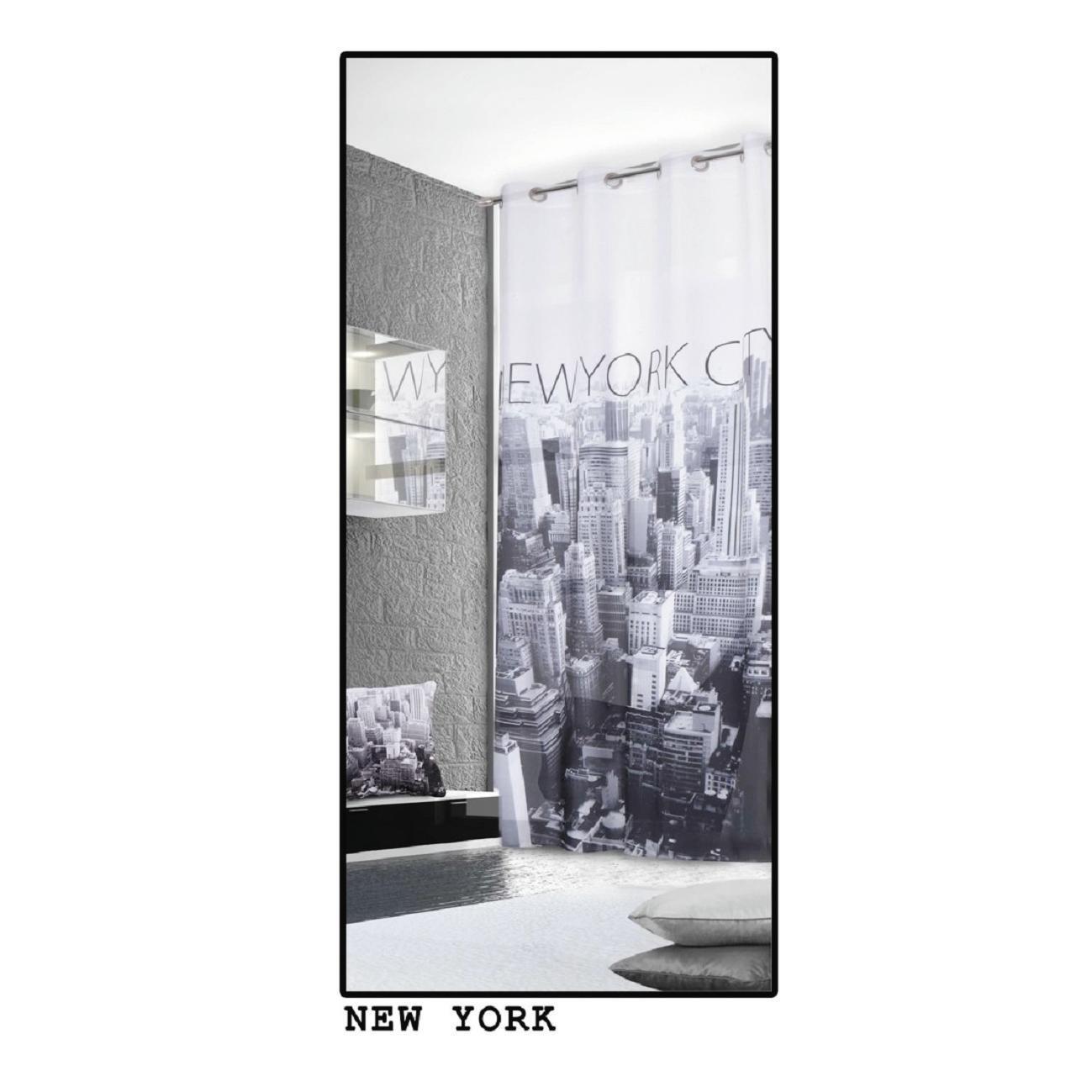 Tenda Metropolitan New York bianco e nero occhielli 140 x 280 cm - 3