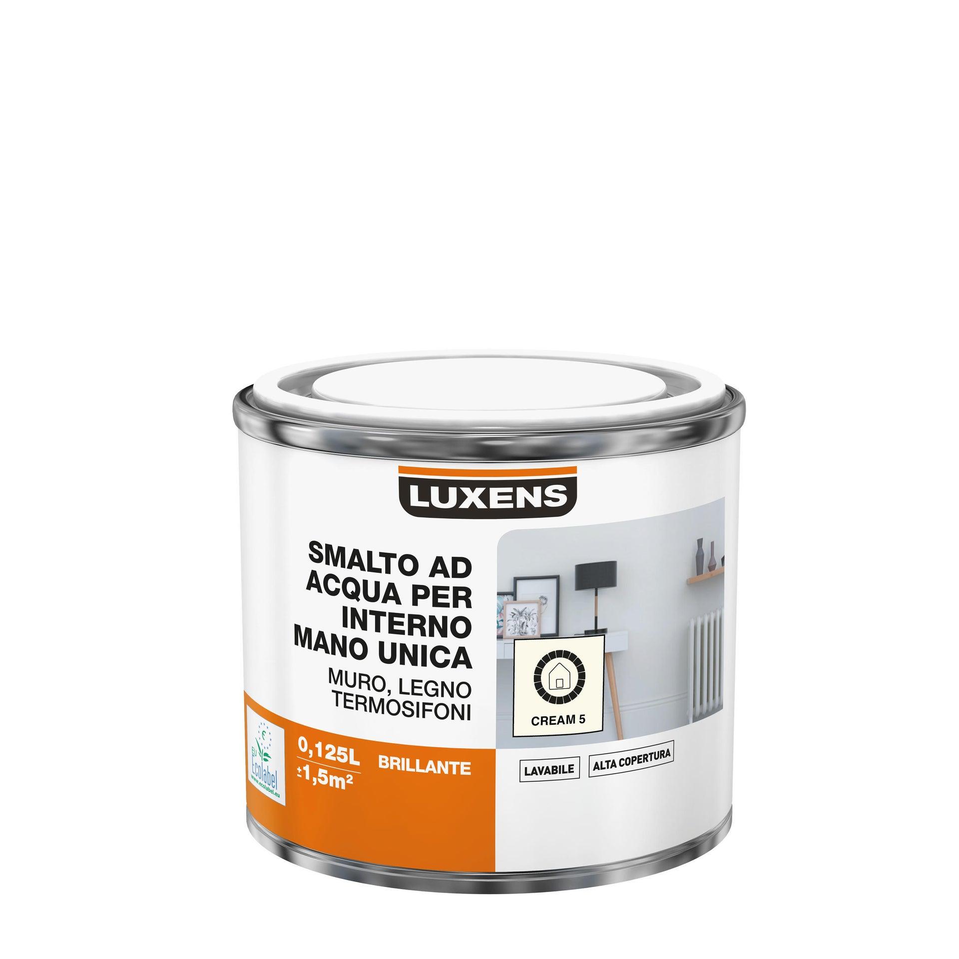 Vernice di finitura LUXENS Manounica base acqua bianco crema 5 lucido 0.125 L - 2