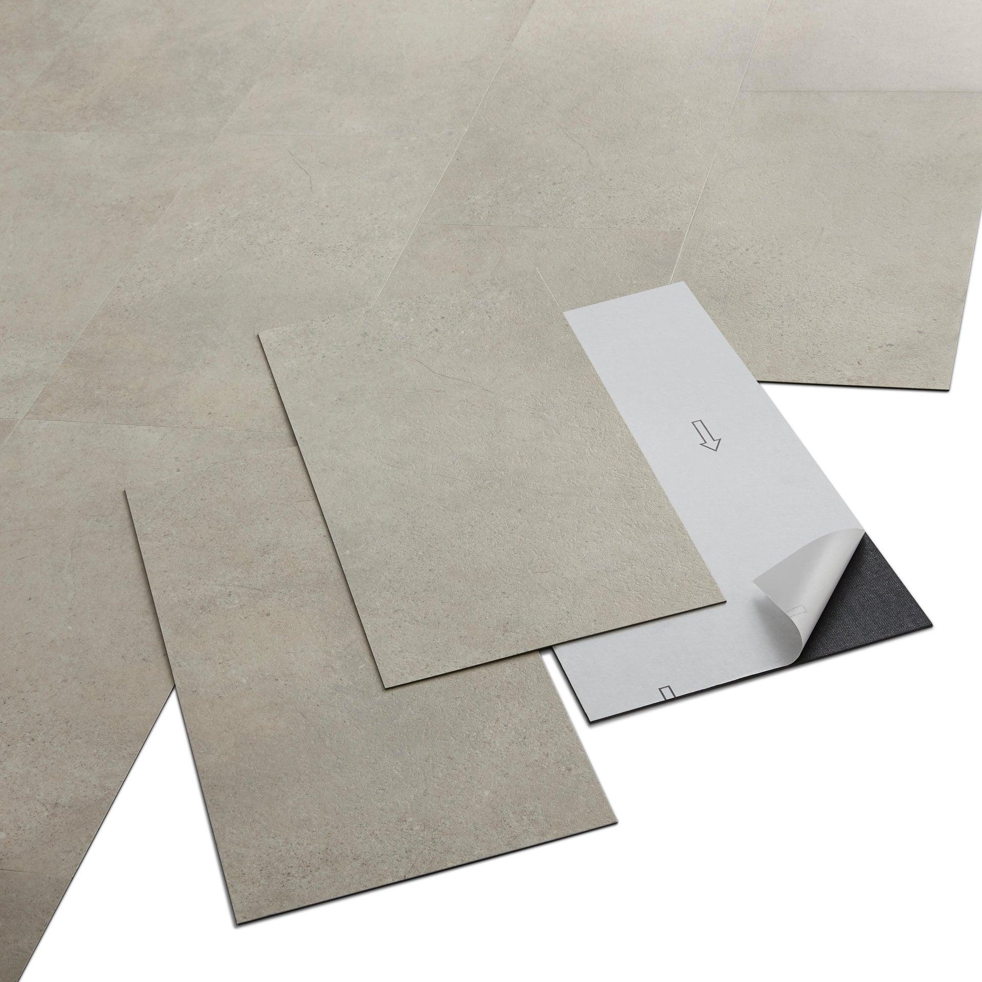 Pavimento PVC adesivo Limestone Sp 2 mm grigio / argento - 9