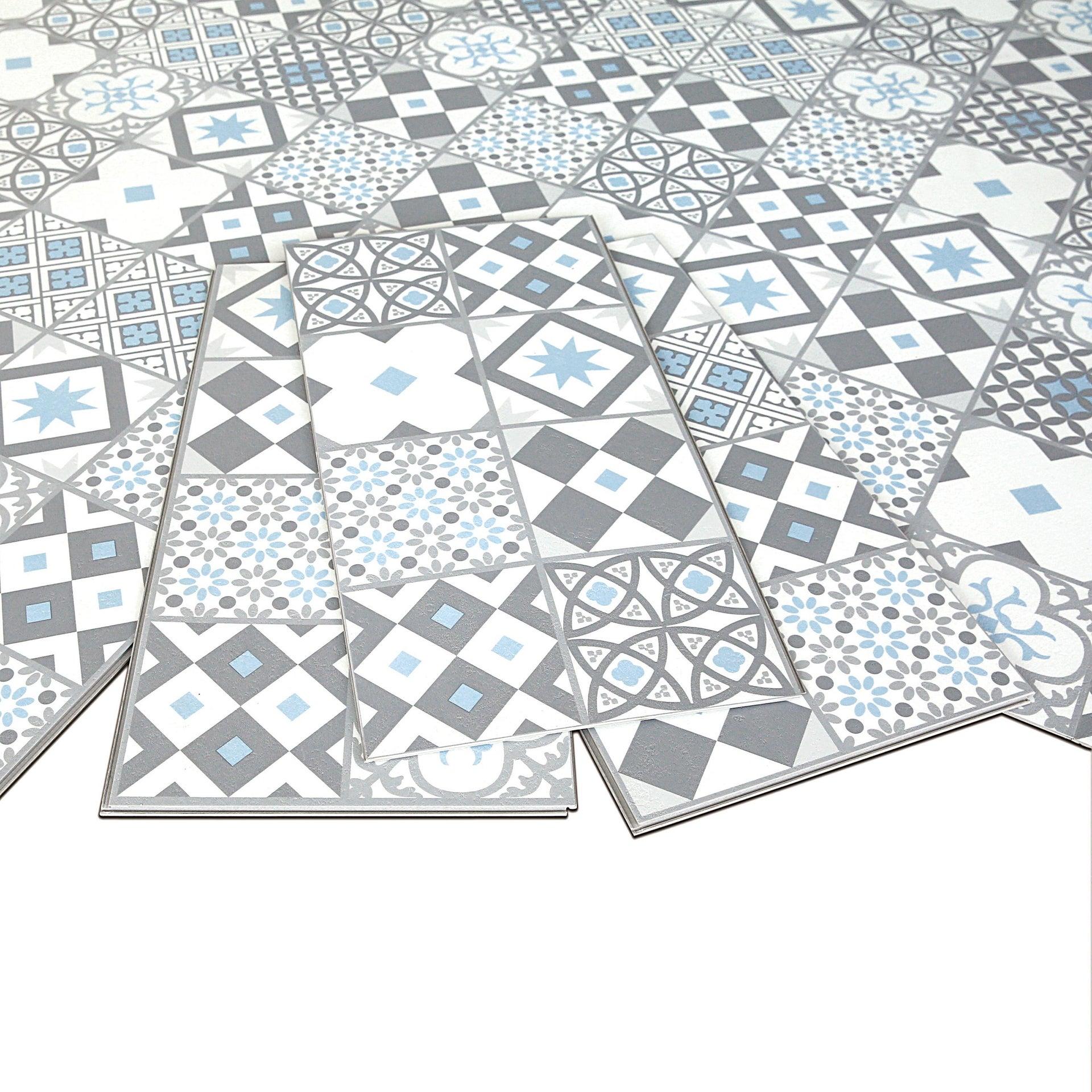 Pavimento PVC flottante clic+ Gatsby Blu Sp 4.2 mm multicolore - 6