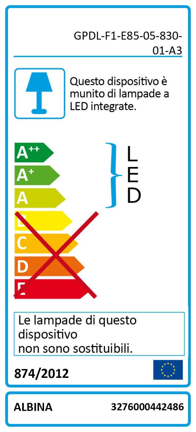 Faretto fisso da incasso quadrato Albina in Alluminio bianco, 8x8cm Diodi LED integrati 6W IP20 INSPIRE - 2