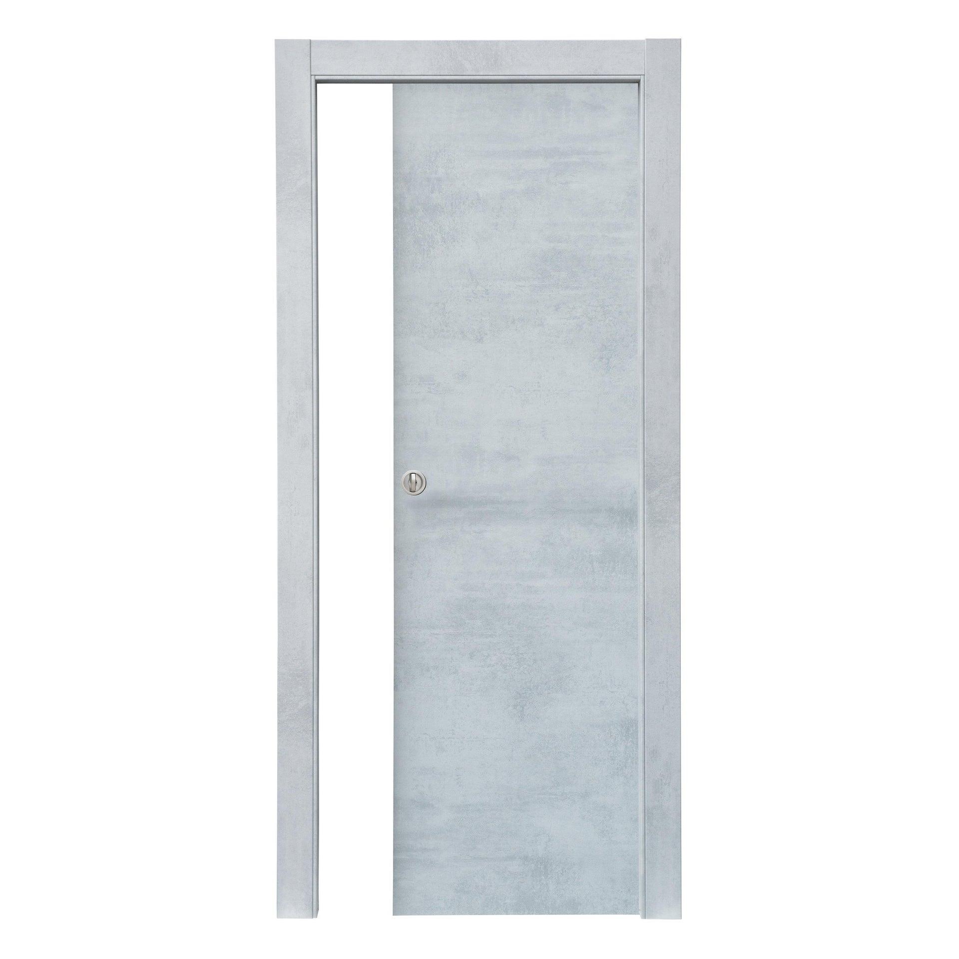 Porta scorrevole a scomparsa Cemento grigio L 70 x H 210 cm reversibile - 3