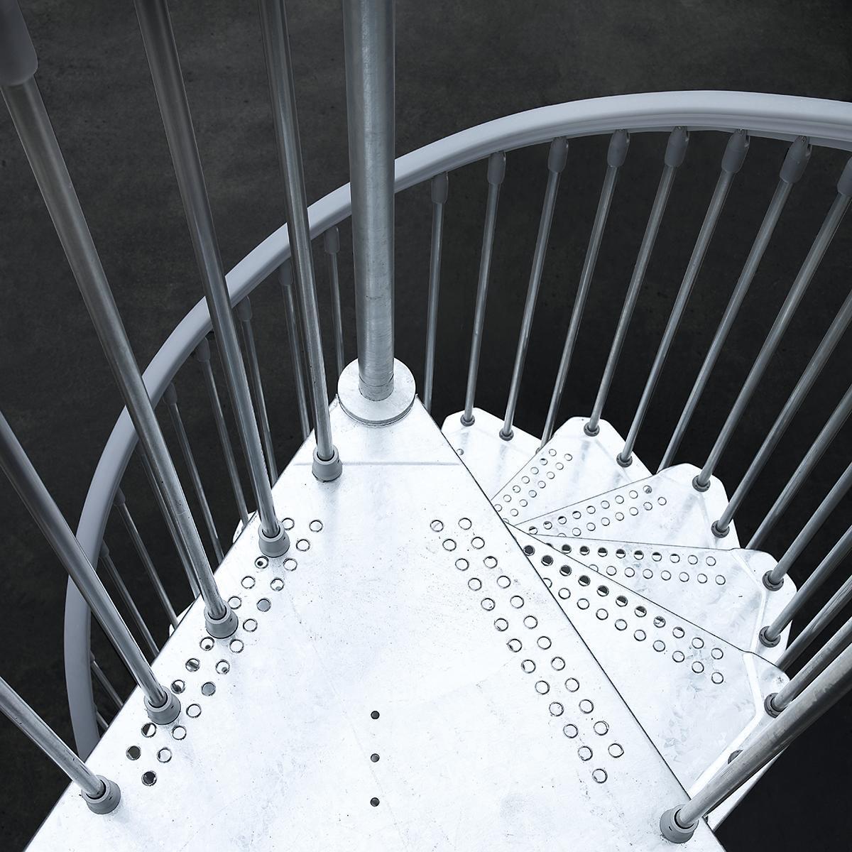 Scala a chiocciola tonda Steel Zink FONTANOT L 160 cm, gradino grigio zincato, struttura grigio zincato - 5