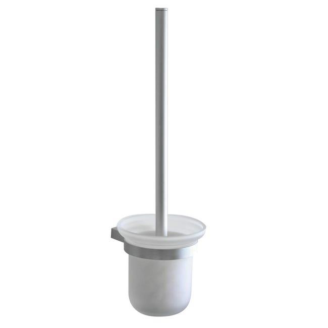 Porta scopino wc a muro Ice in vetro supporto grigio e trasparente - 1