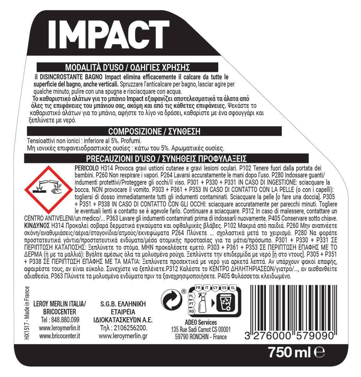 Detergente anticalcare IMPACT Disincrostante Calcare 0,75 L - 4