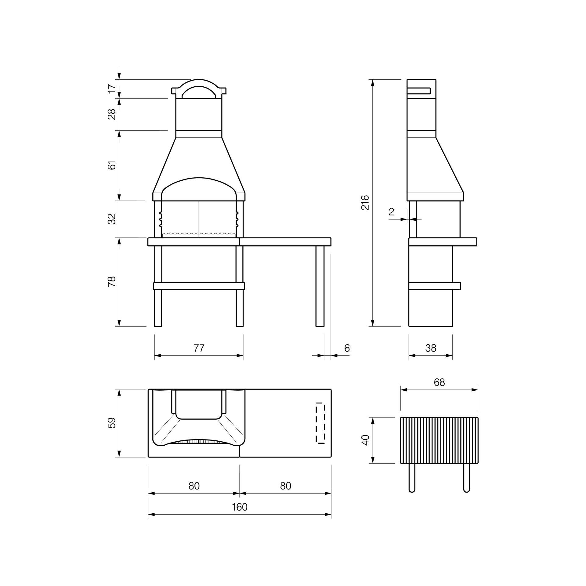 Barbecue in cemento refrattario PALAZZETTI L 59 x P 59 x H 216 cm - 2