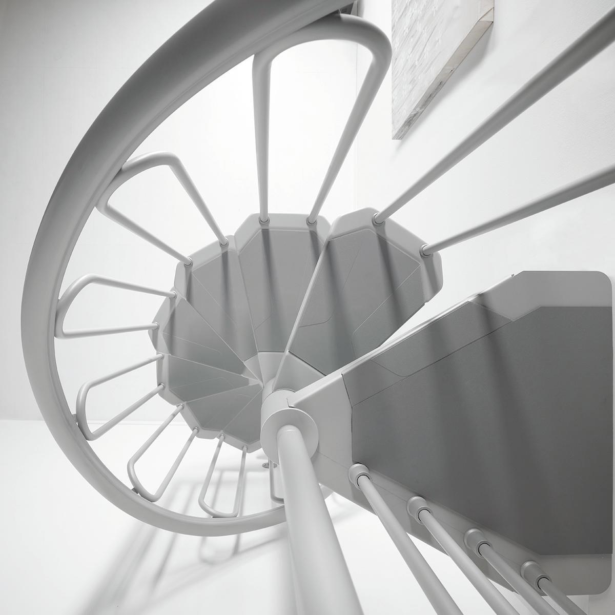 Scala a chiocciola tonda Snail FONTANOT L 120 cm, gradino grigio, struttura grigio - 2