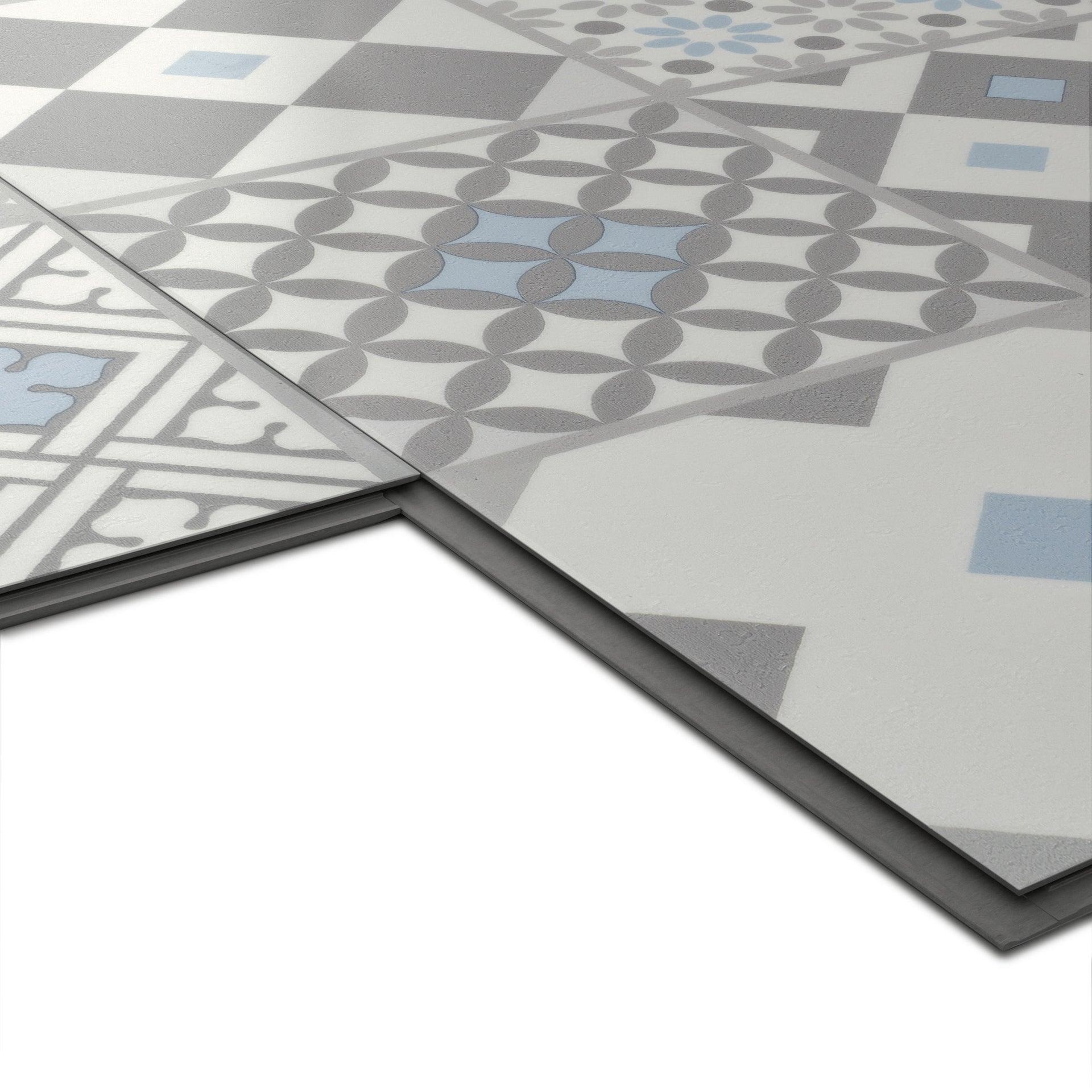 Pavimento PVC flottante clic+ Gatsby Blu Sp 4.2 mm multicolore - 8