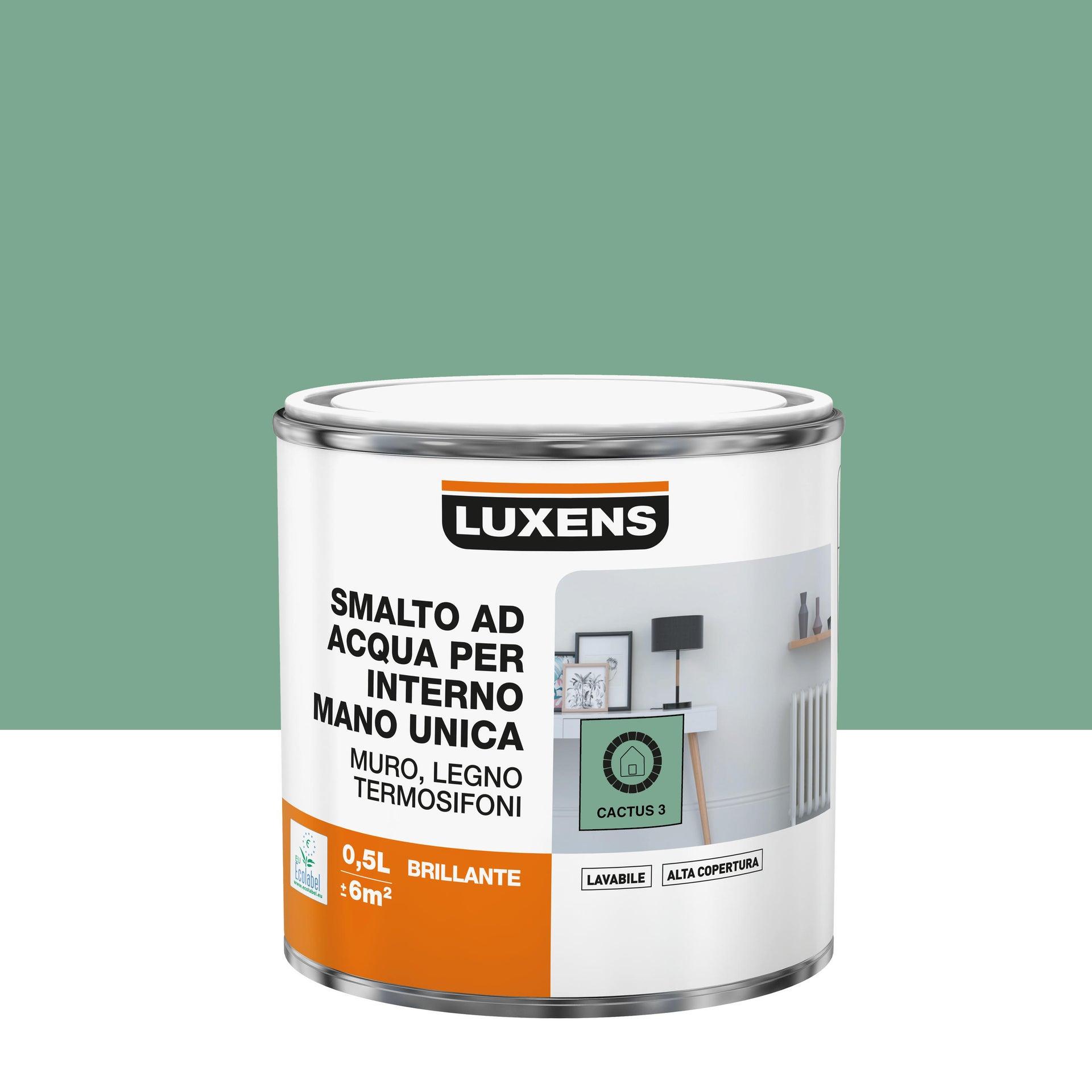 Vernice di finitura LUXENS Manounica base acqua verde cactus 3 lucido 0.5 L - 3