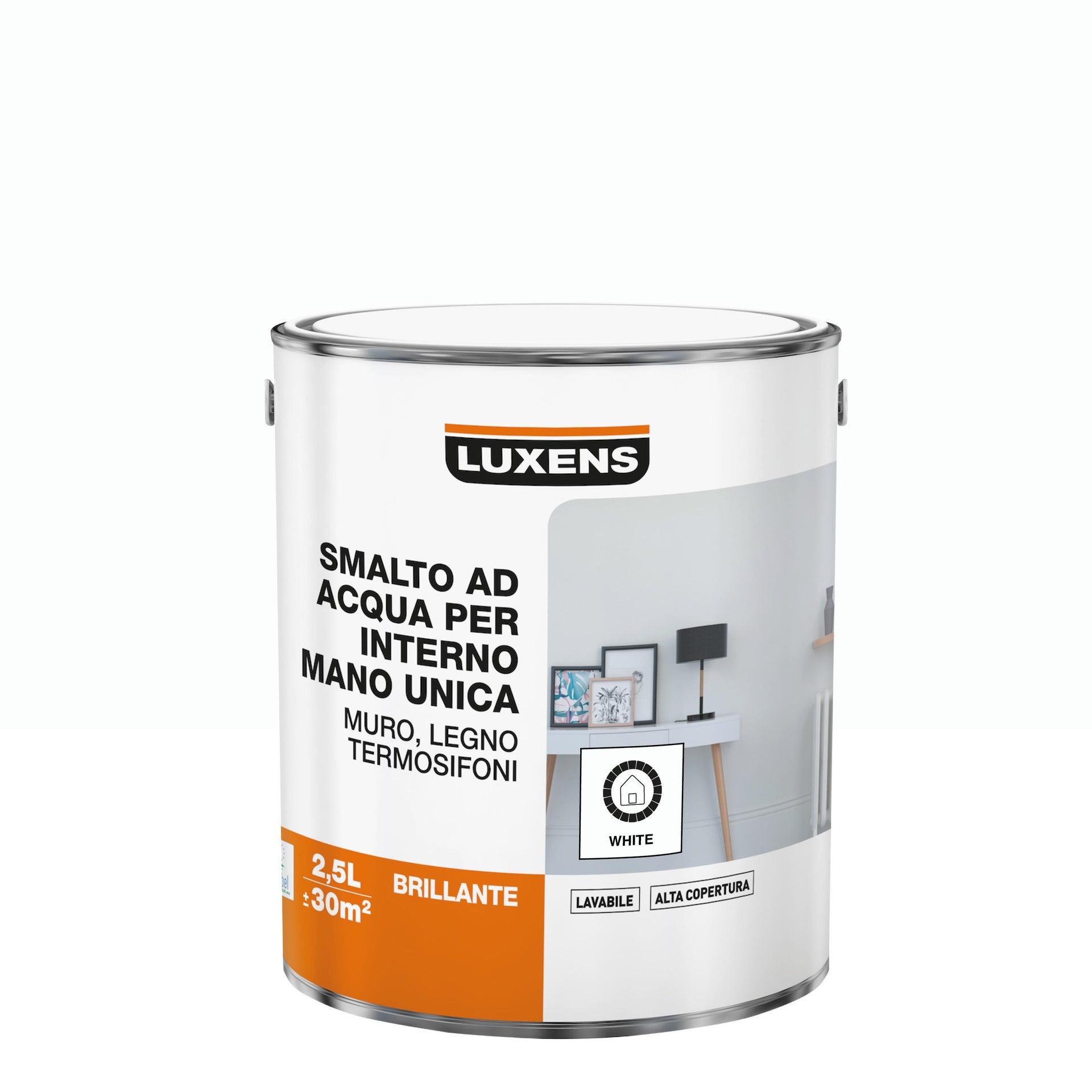 Vernice di finitura LUXENS Manounica base acqua bianco lucido 2.5 L - 3