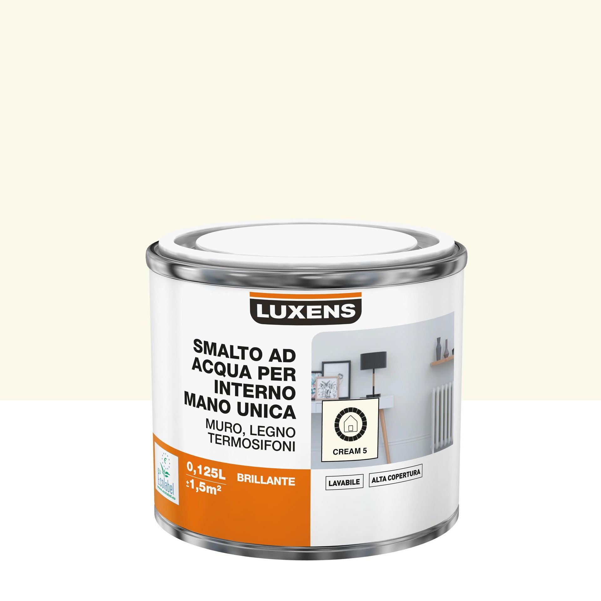 Vernice di finitura LUXENS Manounica base acqua bianco crema 5 lucido 0.125 L - 4