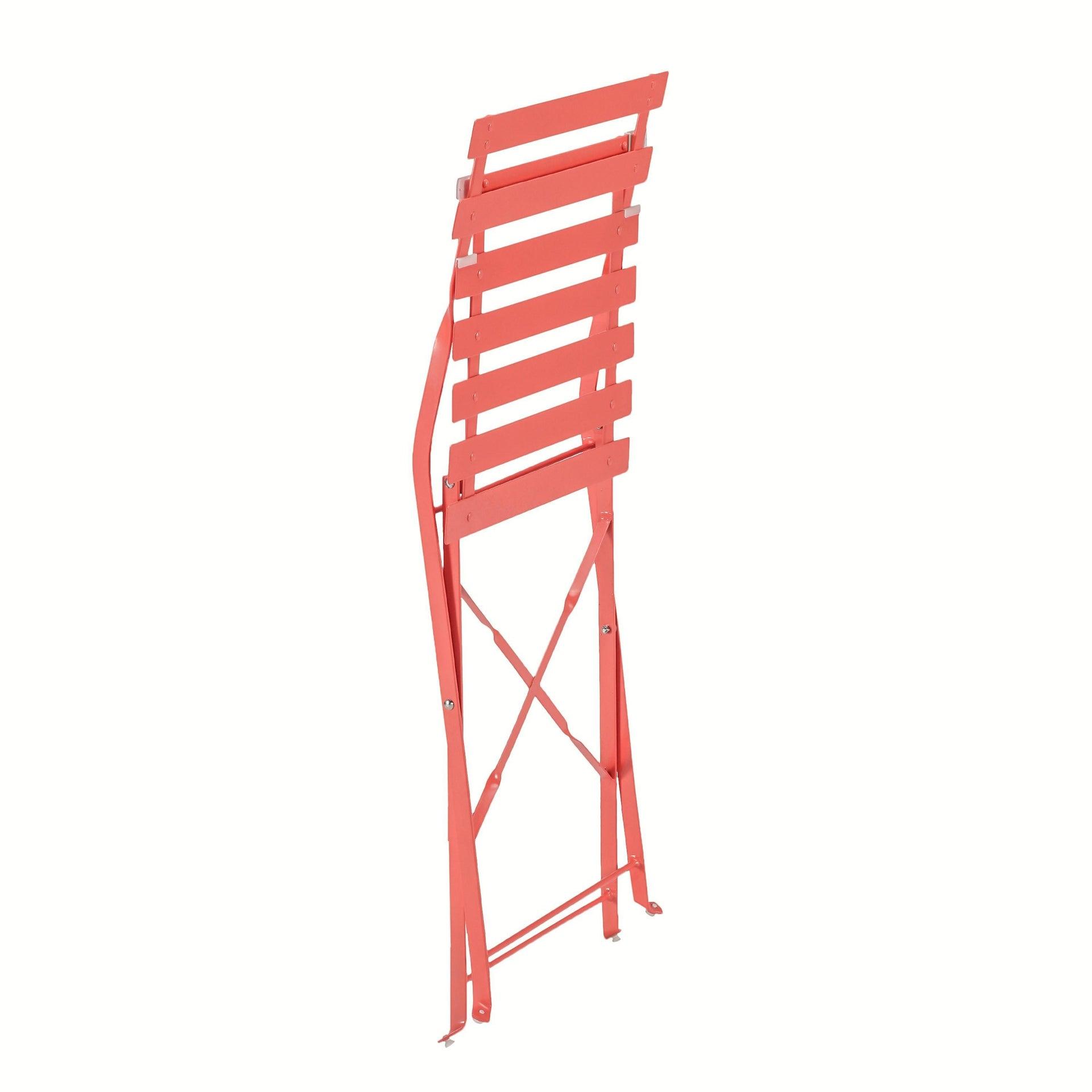 Set tavolo e sedie NATERIAL Origami in acciaio rosso 2 posti - 4