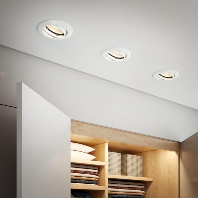 Set da 10 pezzi Faretto orientabile da incasso tondo Clane in Alluminio bianco, diam. 8.2 cm GU10 10x6W IP23 INSPIRE - 1