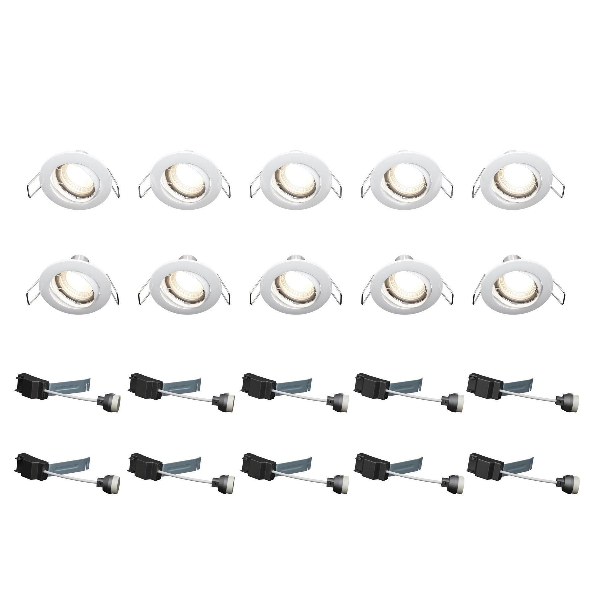 Set da 10 pezzi Faretto orientabile da incasso tondo Clane in Alluminio nichel, diam. 8.2 cm GU10 10x6W IP23 INSPIRE - 6