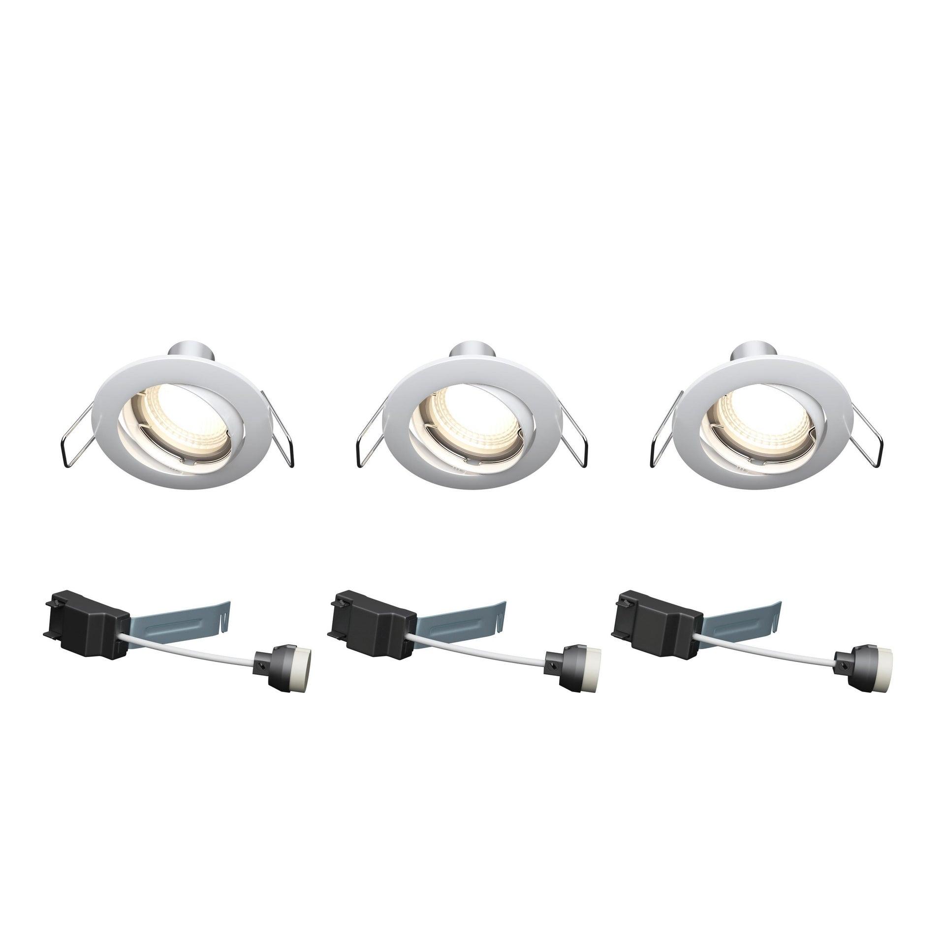 Set da 3 pezzi Faretto orientabile da incasso tondo Clane in Alluminio bianco, diam. 8.2 cm GU10 6W IP23 INSPIRE - 3