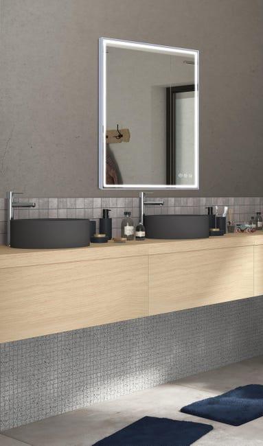 Specchio con illuminazione integrata bagno rettangolare Neo L 60 x H 90 cm SENSEA - 1