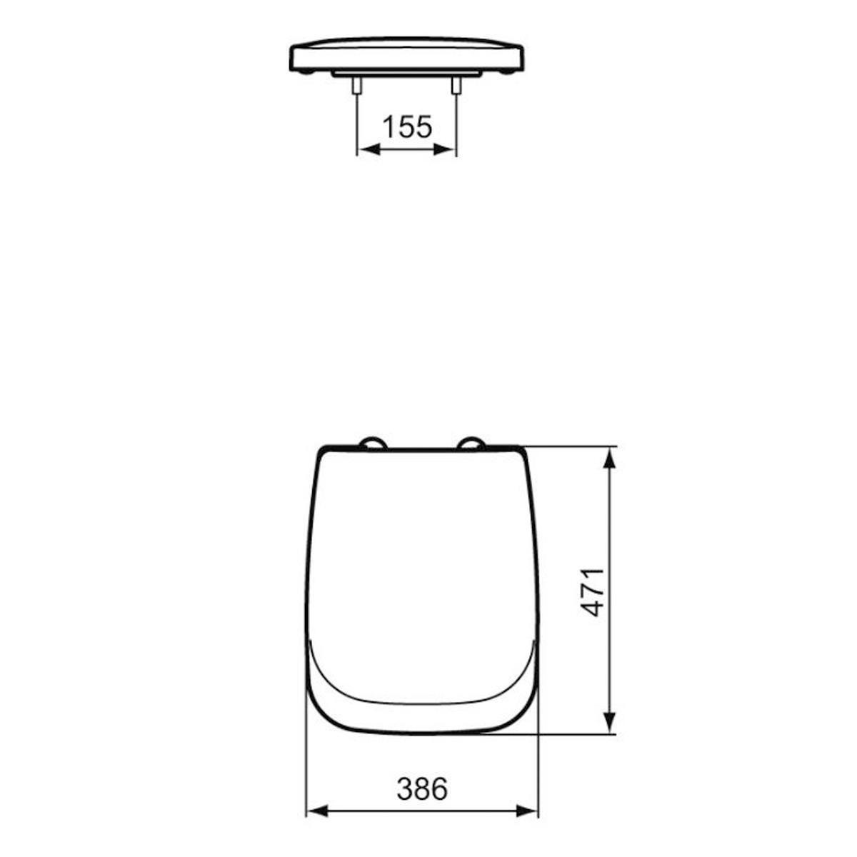 Copriwater rettangolare Originale per serie sanitari Tesi IDEAL STANDARD termoindurente bianco - 4