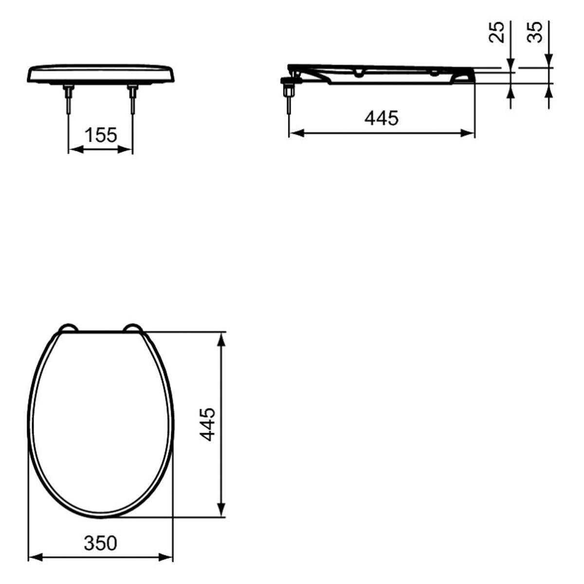 Copriwater ovale Originale per serie sanitari Idyl IDEAL STANDARD termoindurente bianco - 2