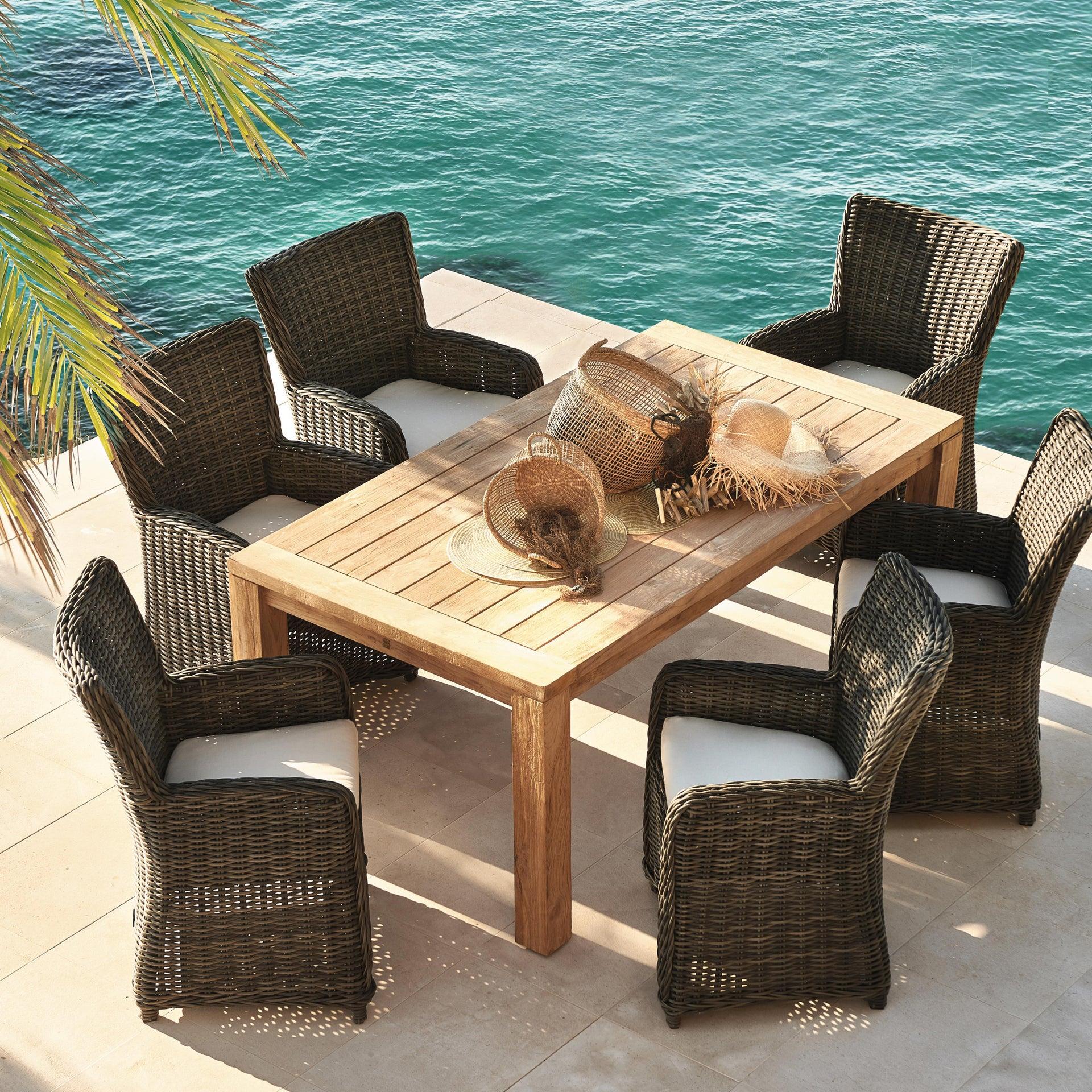 Set tavolo e sedie Australia in rattan marrone 6 posti - 1