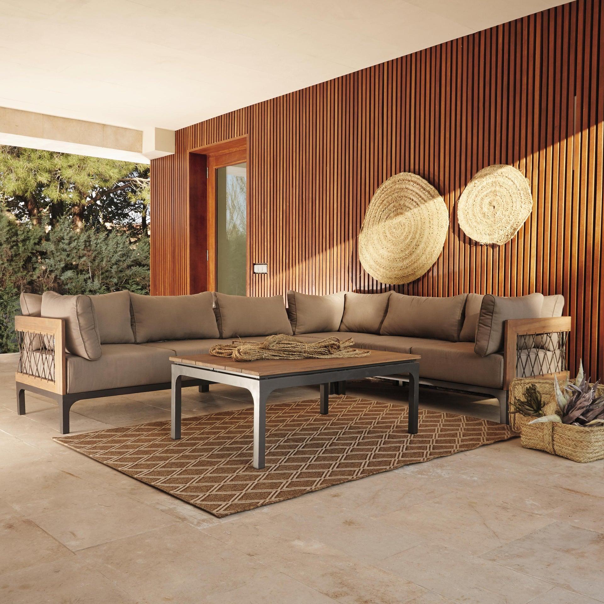 Divano da giardino con cuscino 2 posti in alluminio Peloponeso colore marrone e grigio - 4